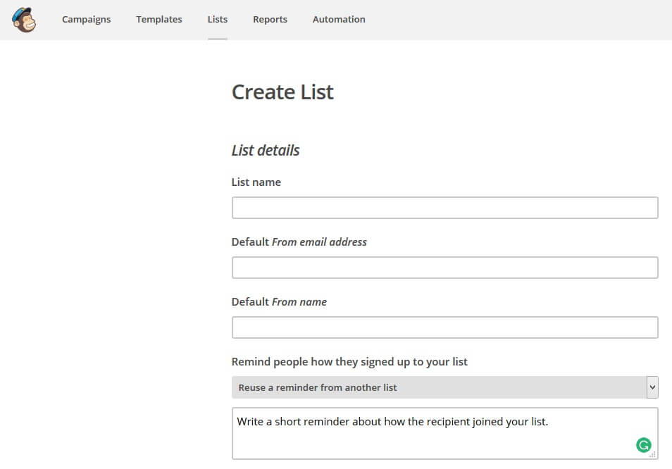 how to create a list in mailcghimp