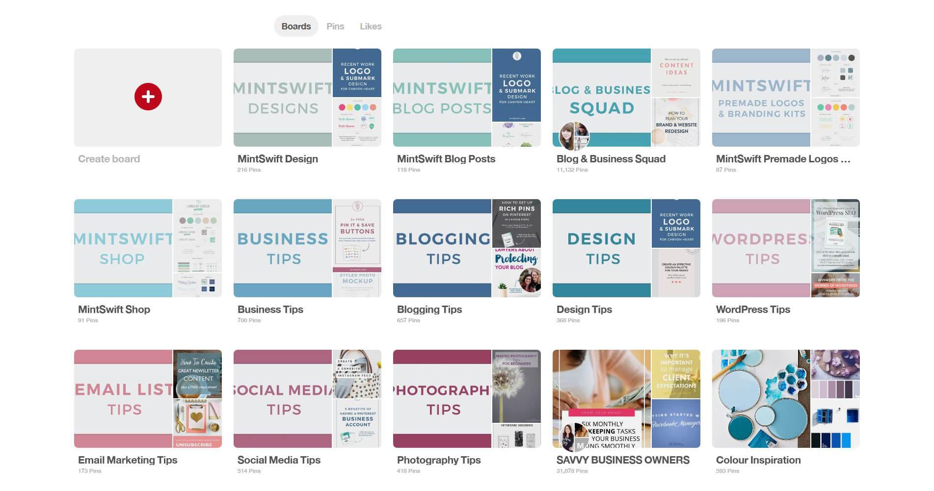 MintSwift custom board covers on Pinterest profile