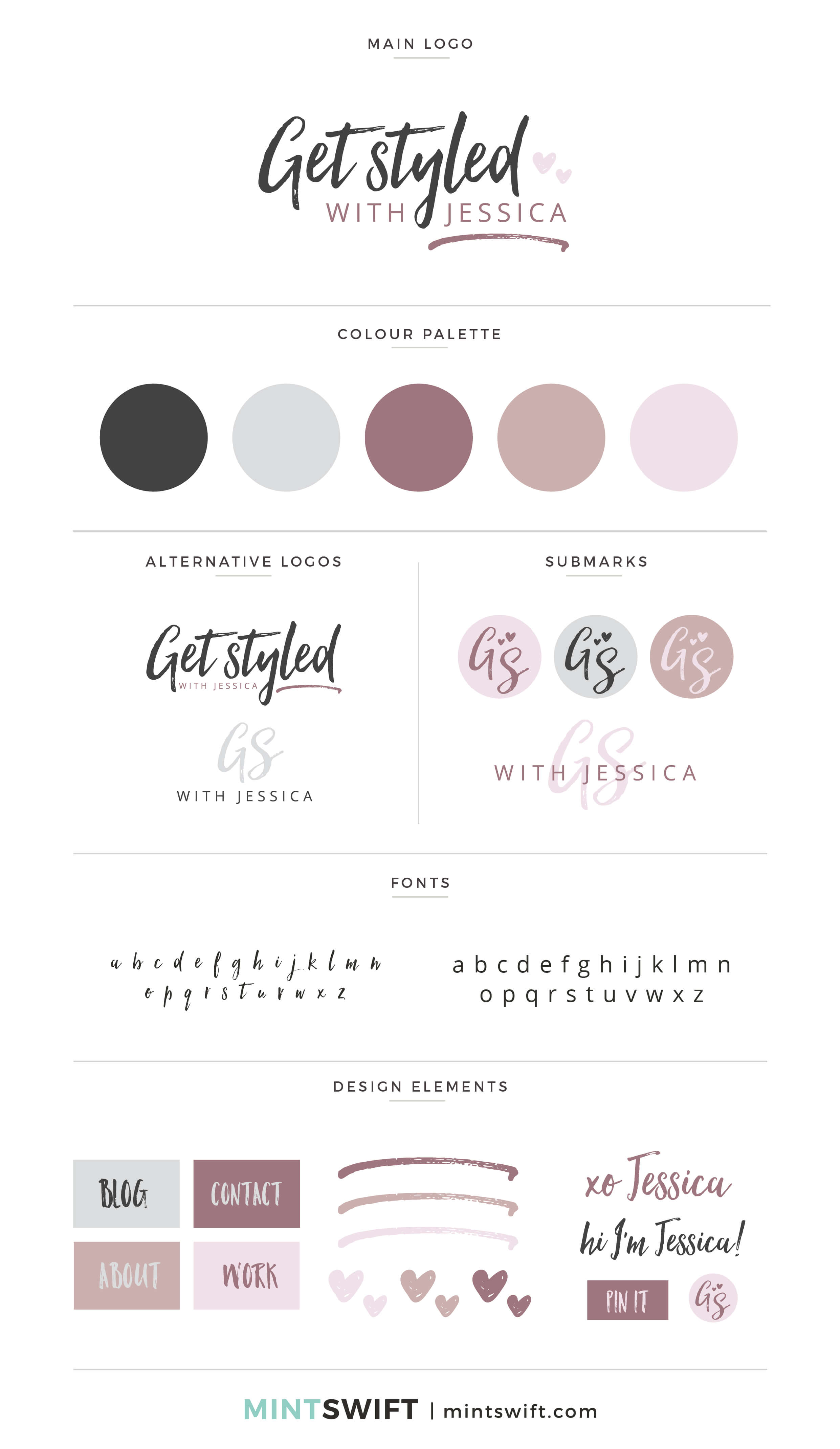 Get Styled With Jessica - Brand Board - Brand Design Package - MintSwift