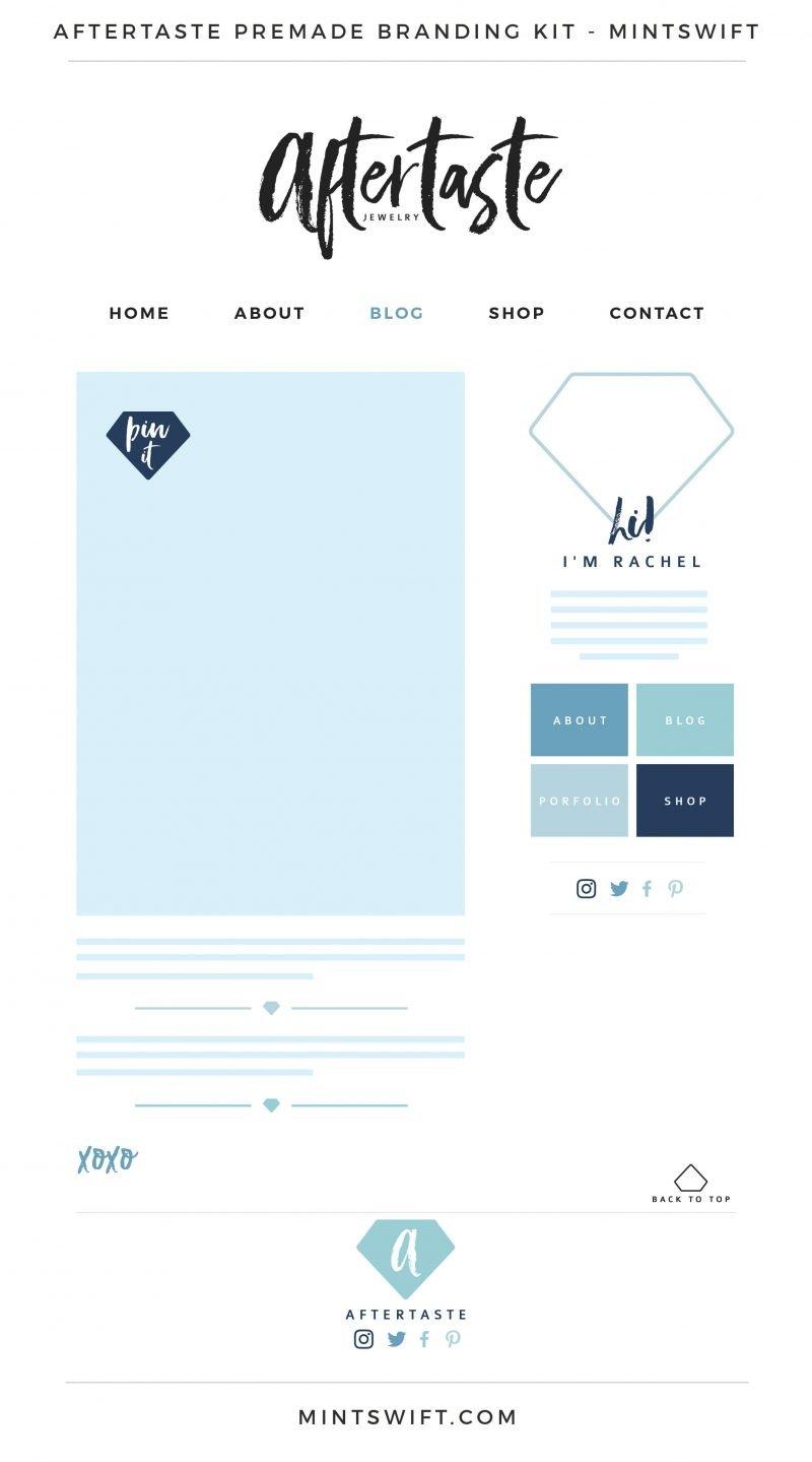 Aftertaste Premade Branding, Website & Blog Design Kit – MintSwift