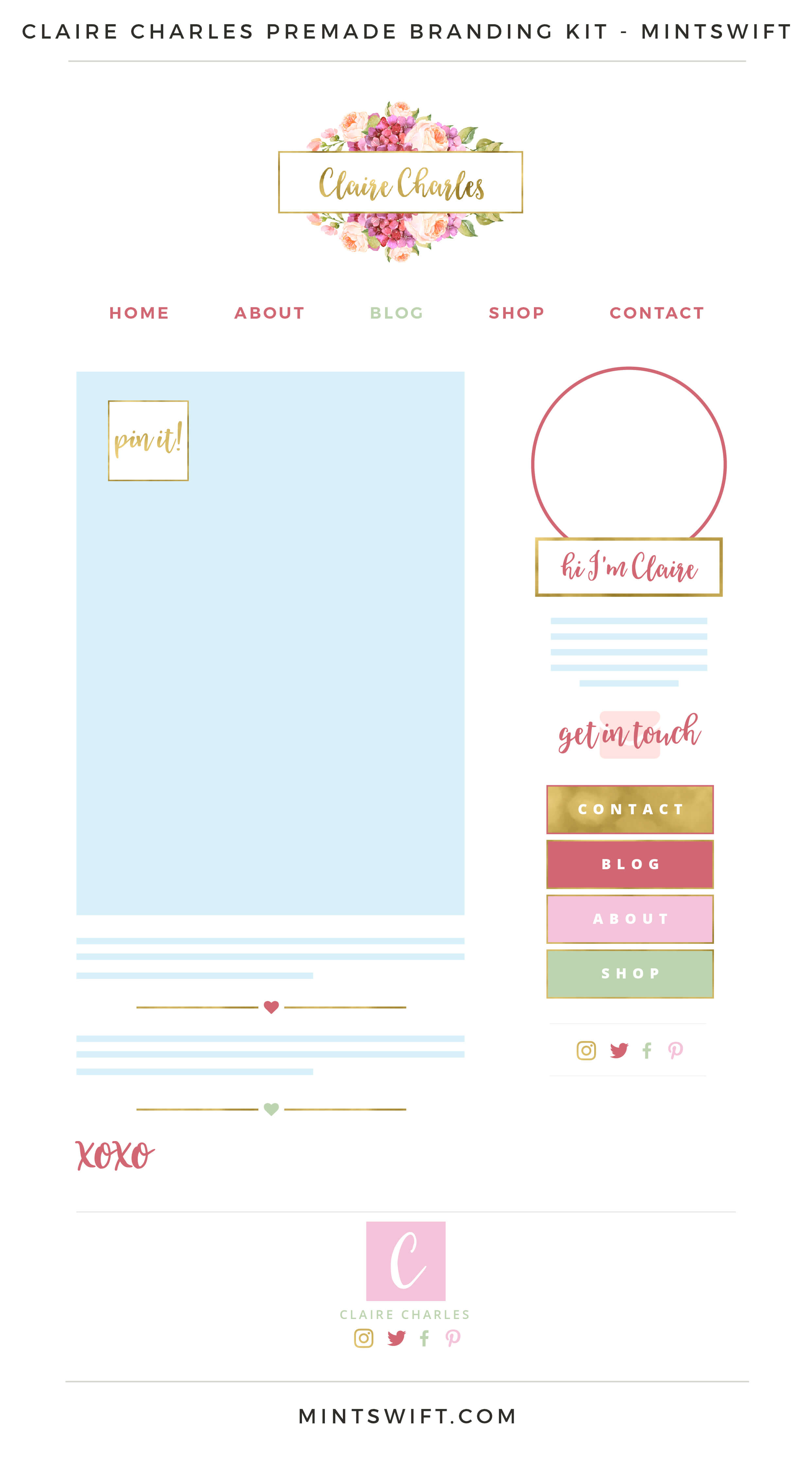 Claire Charles Premade Branding Kit Mintswift
