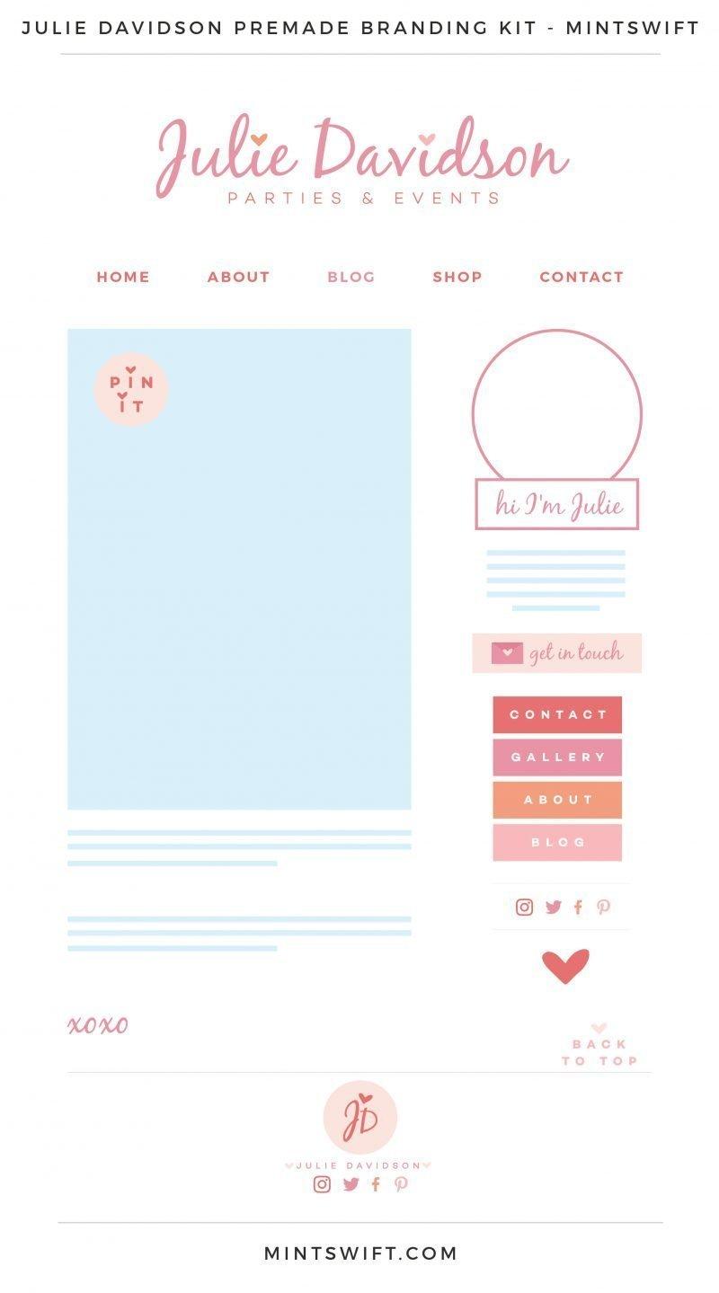 Julie Davidson Premade Branding, Website & Blog Design Kit – MintSwift