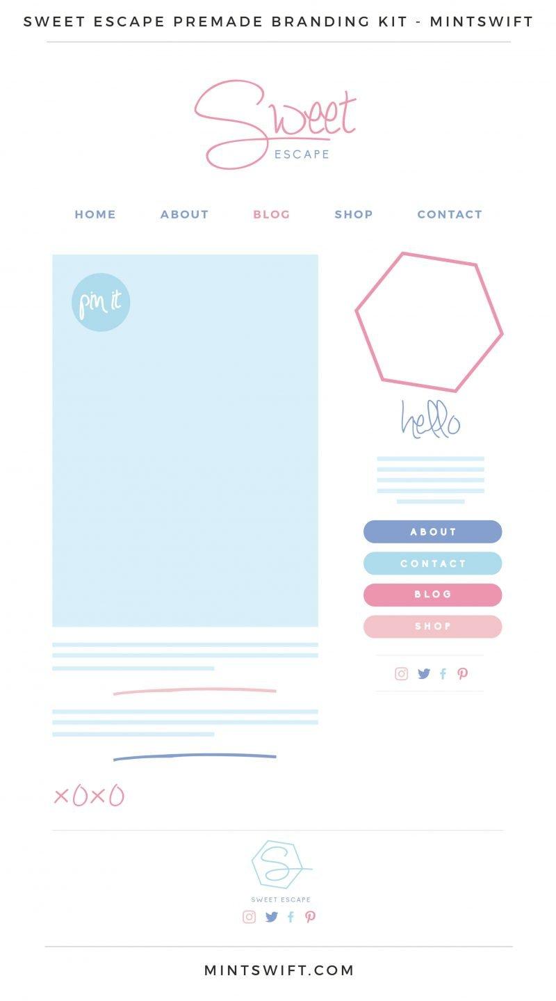 Sweet Escape Premade Branding, Website & Blog Design Kit – MintSwift