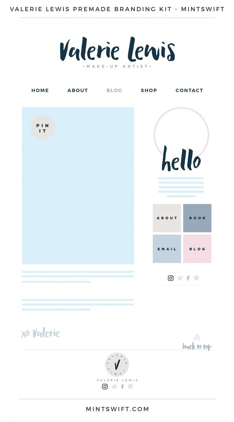 Valerie Lewis Premade Branding, Website & Blog Design Kit – MintSwift