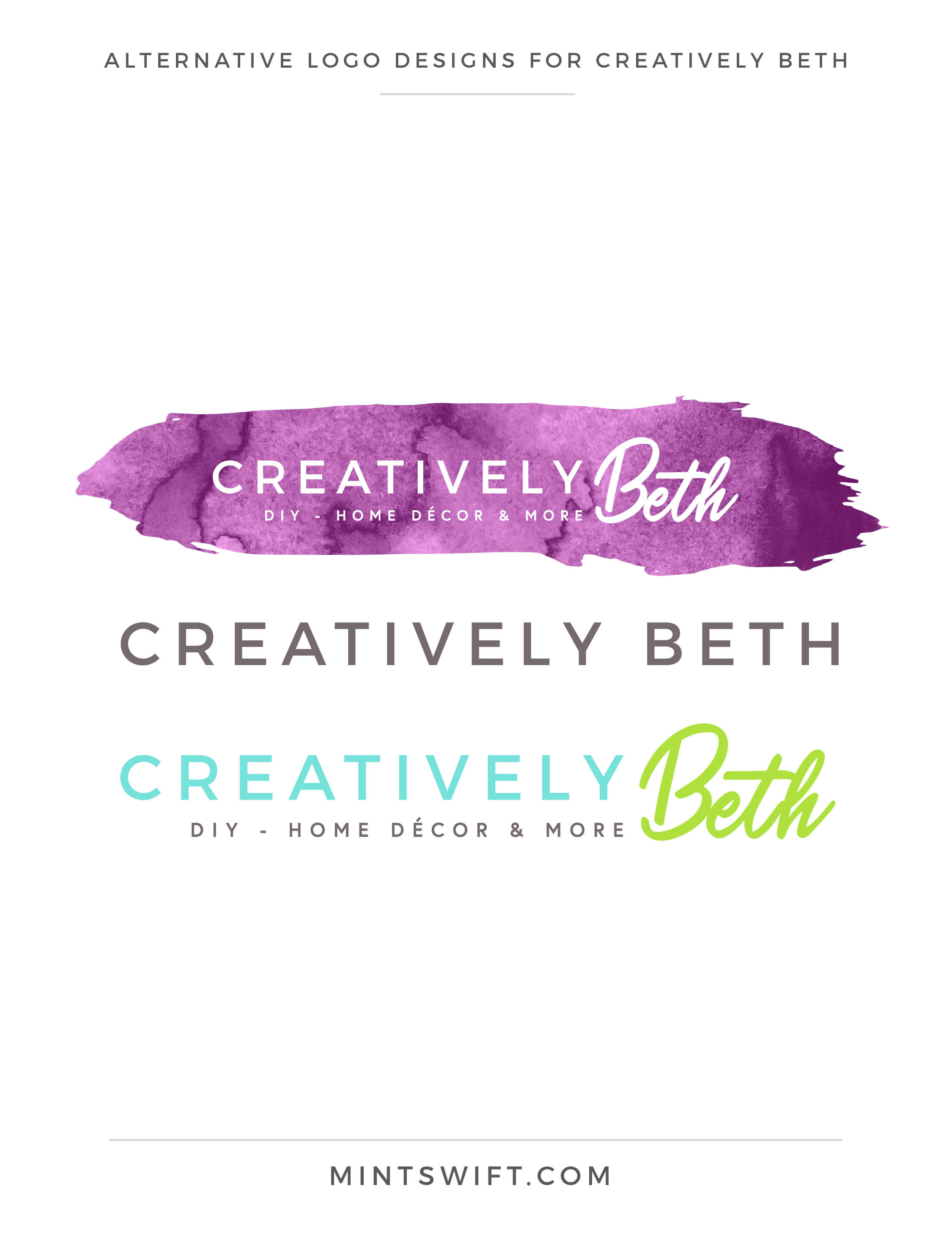 Creatively Beth - Alternative Logo Designs - Brand & Website Design - MintSwift