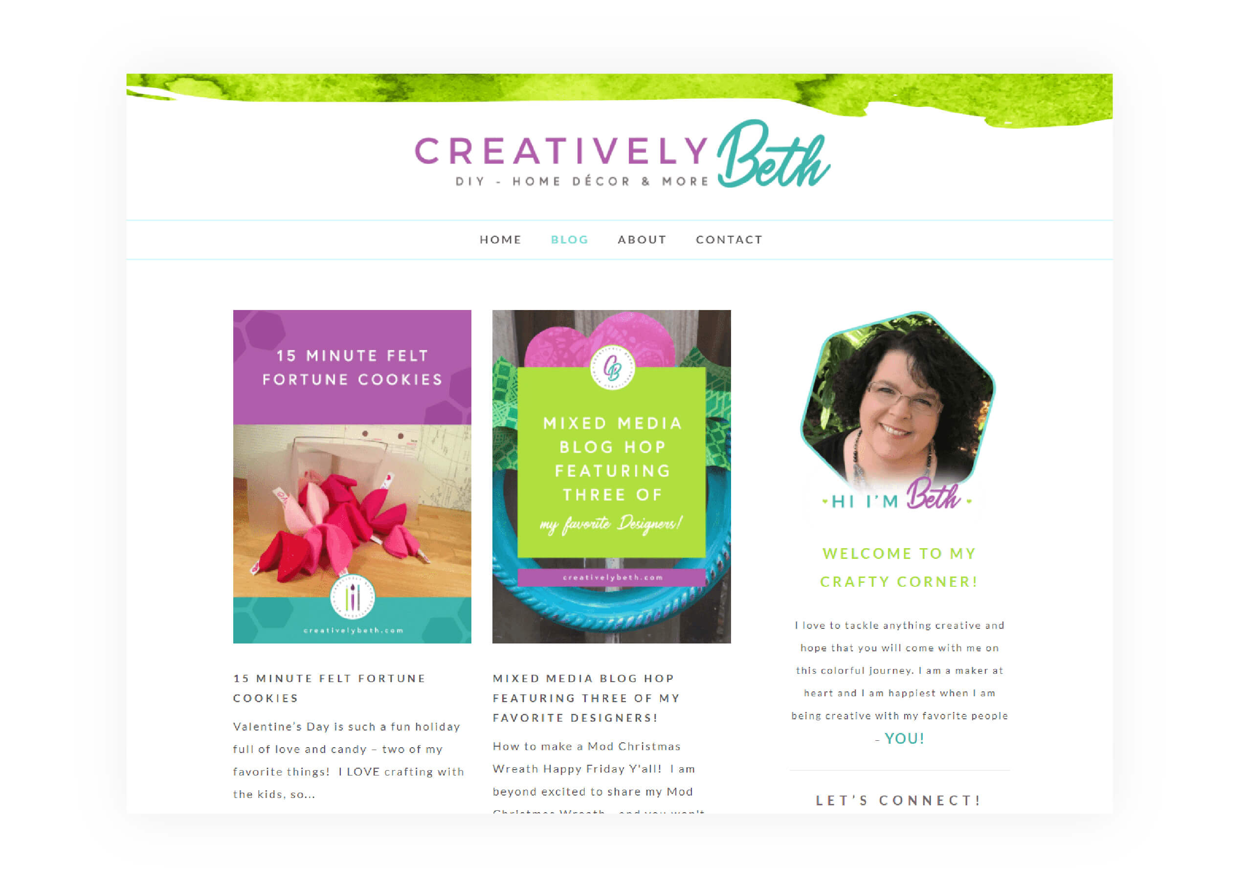 Creatively Beth - Blog Page Design - MintSwift