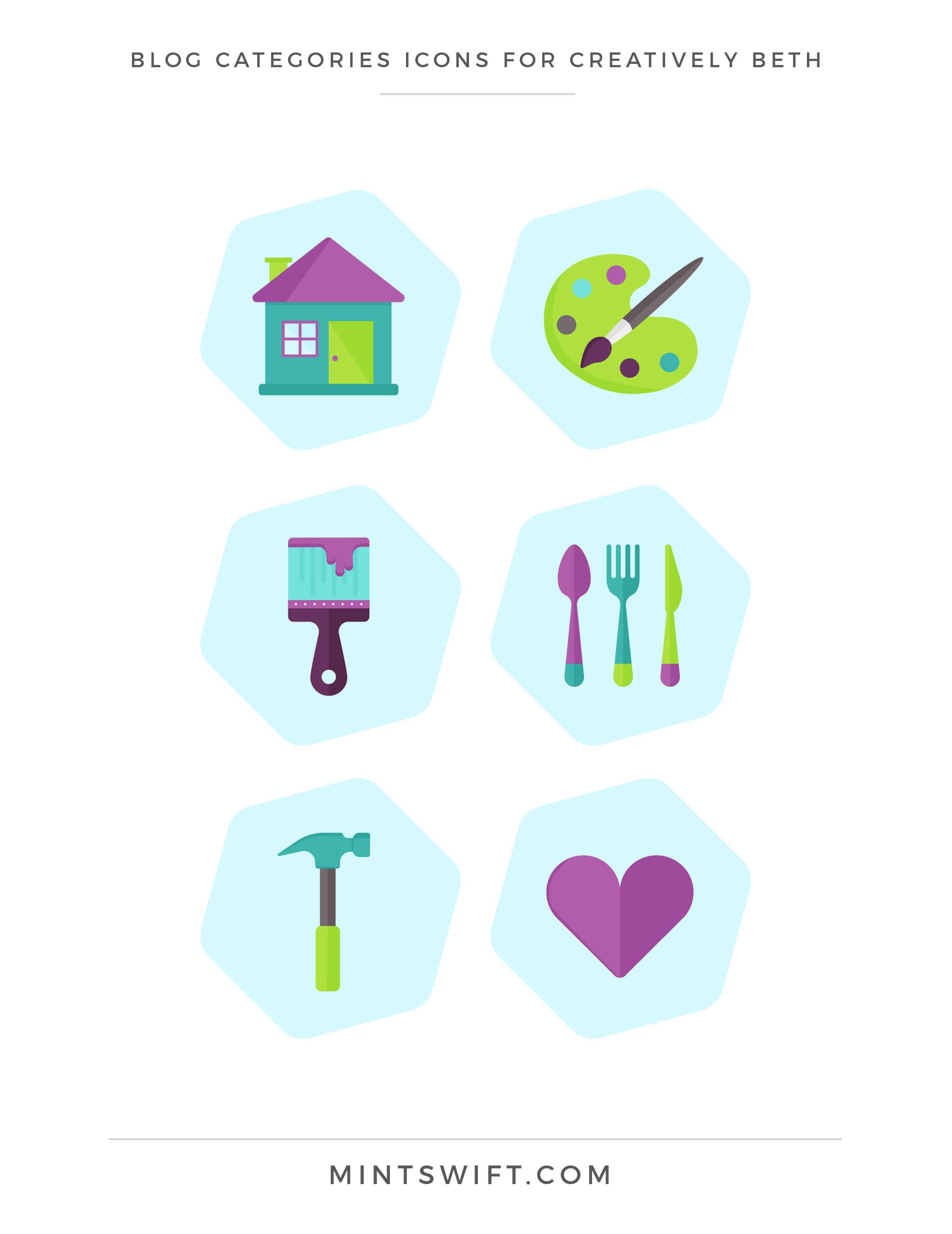 Creatively Beth - Blog categories icons - Brand & Website Design - MintSwift