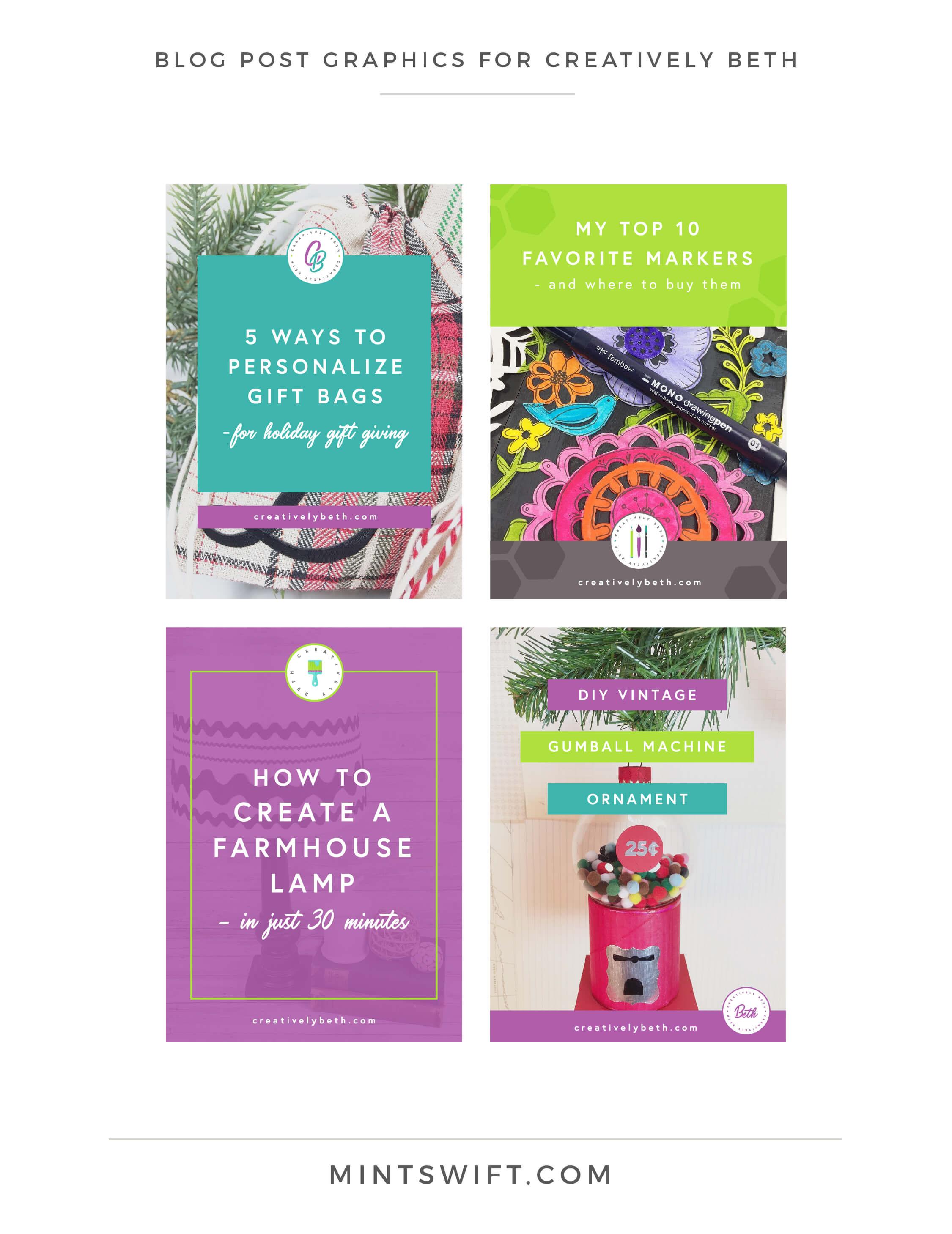 Creatively Beth - Blog post graphics - Brand & Website Design - MintSwift