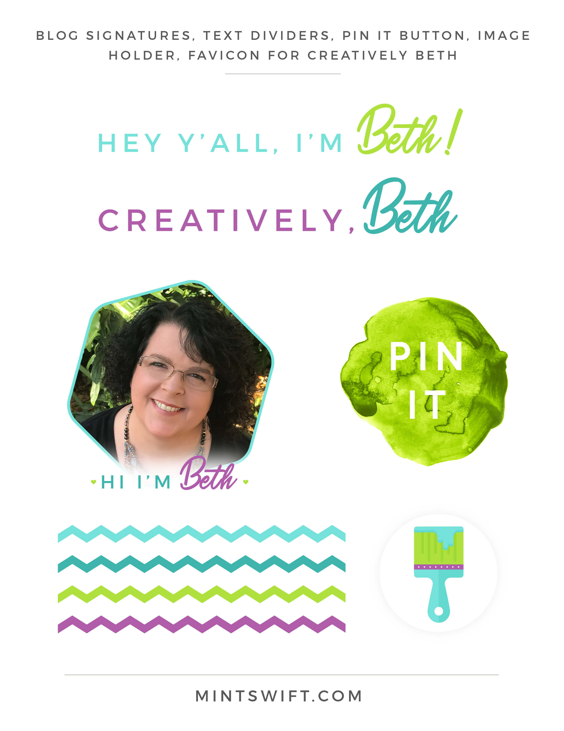 Creatively Beth - Blog signatures, Text Dividers, Pin it button, Image holder, Favicon - Brand & Website Design - MintSwift