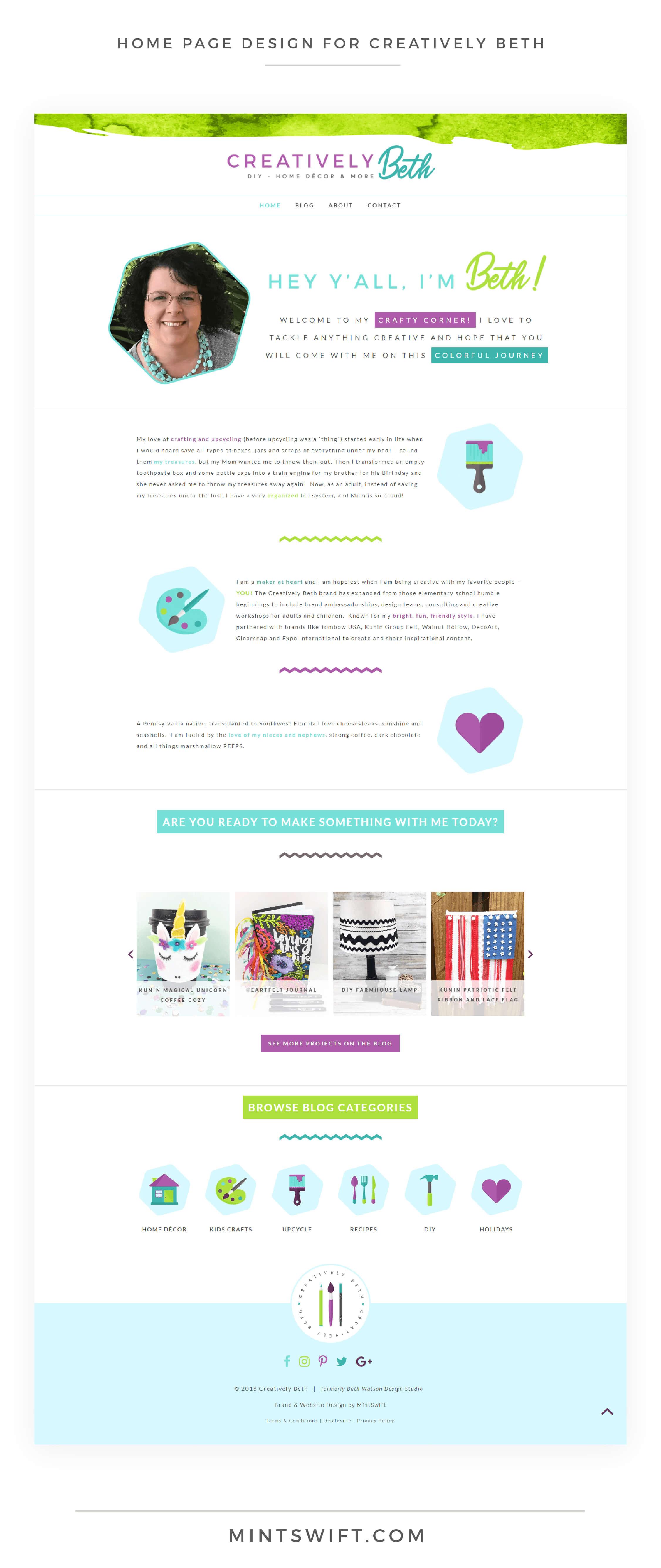 Creatively Beth - Home Page Design - Brand & Website Design - MintSwift
