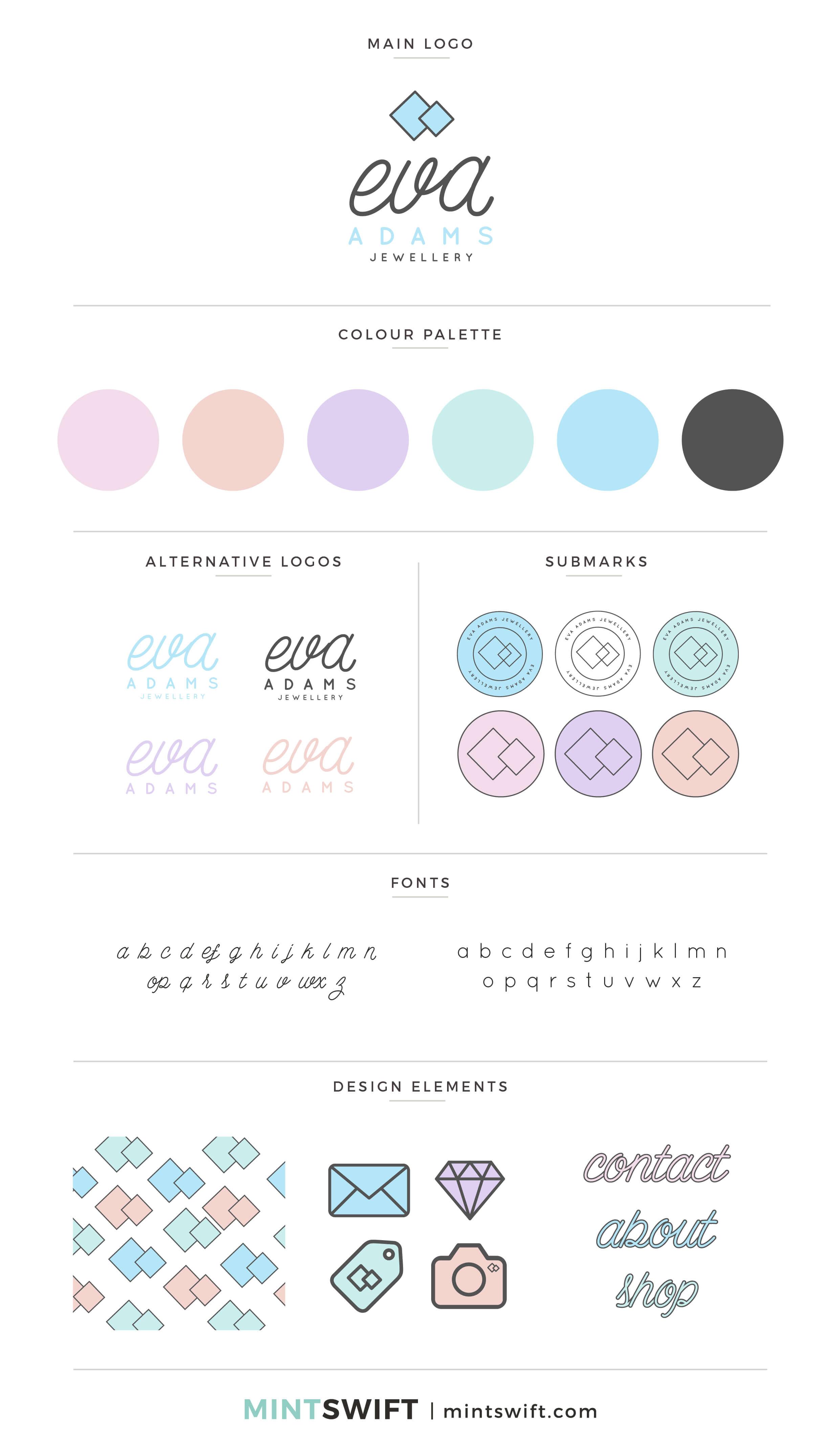 Eva Adams - Brand Board - Brand Design Package - MintSwift