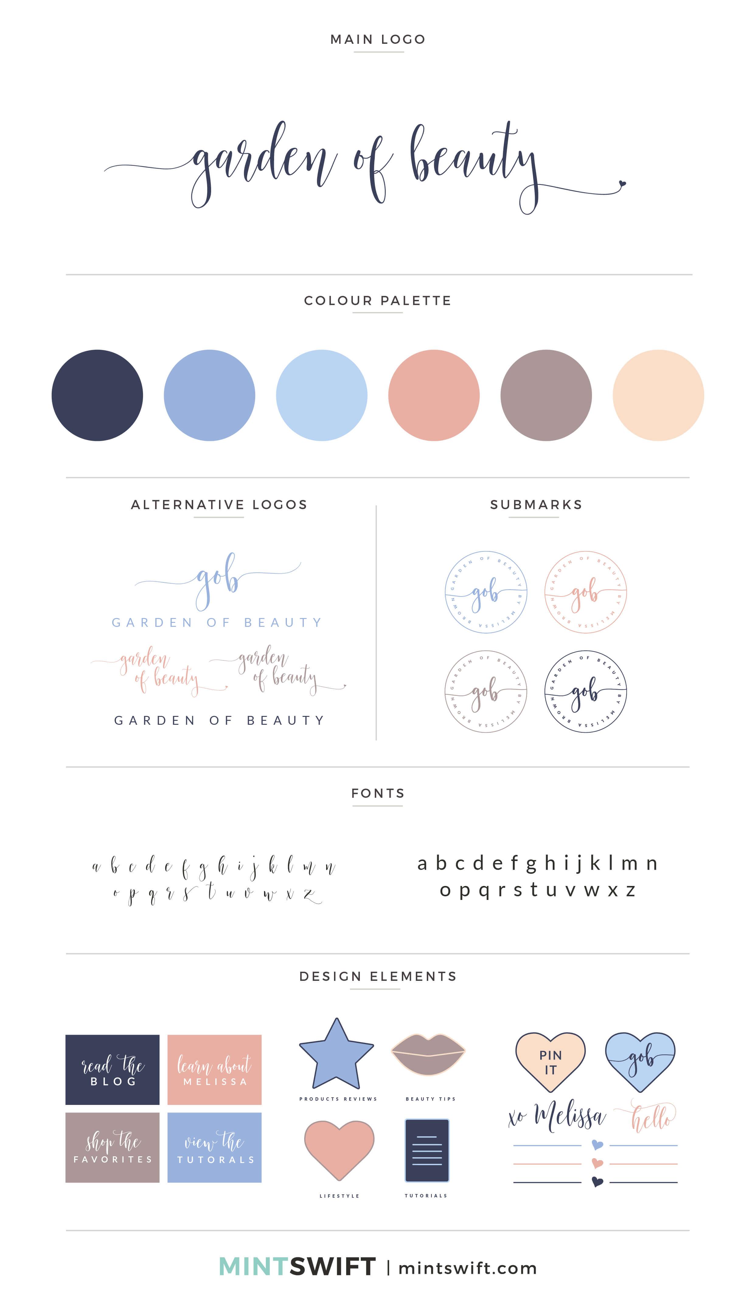Garden of Beauty - Brand Board - Brand Design Package - MintSwift
