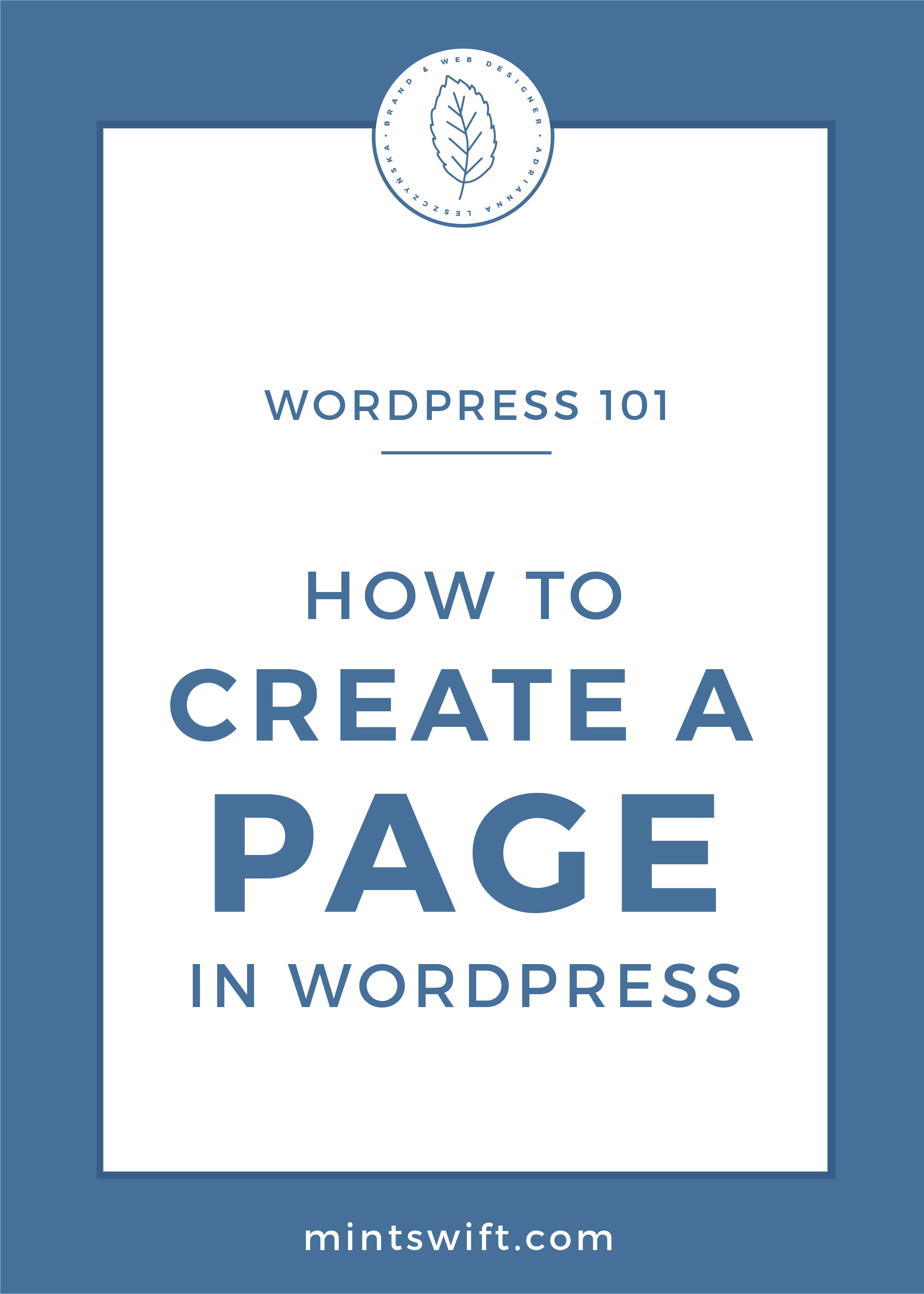 How to Create a Page in WordPress by MintSwift