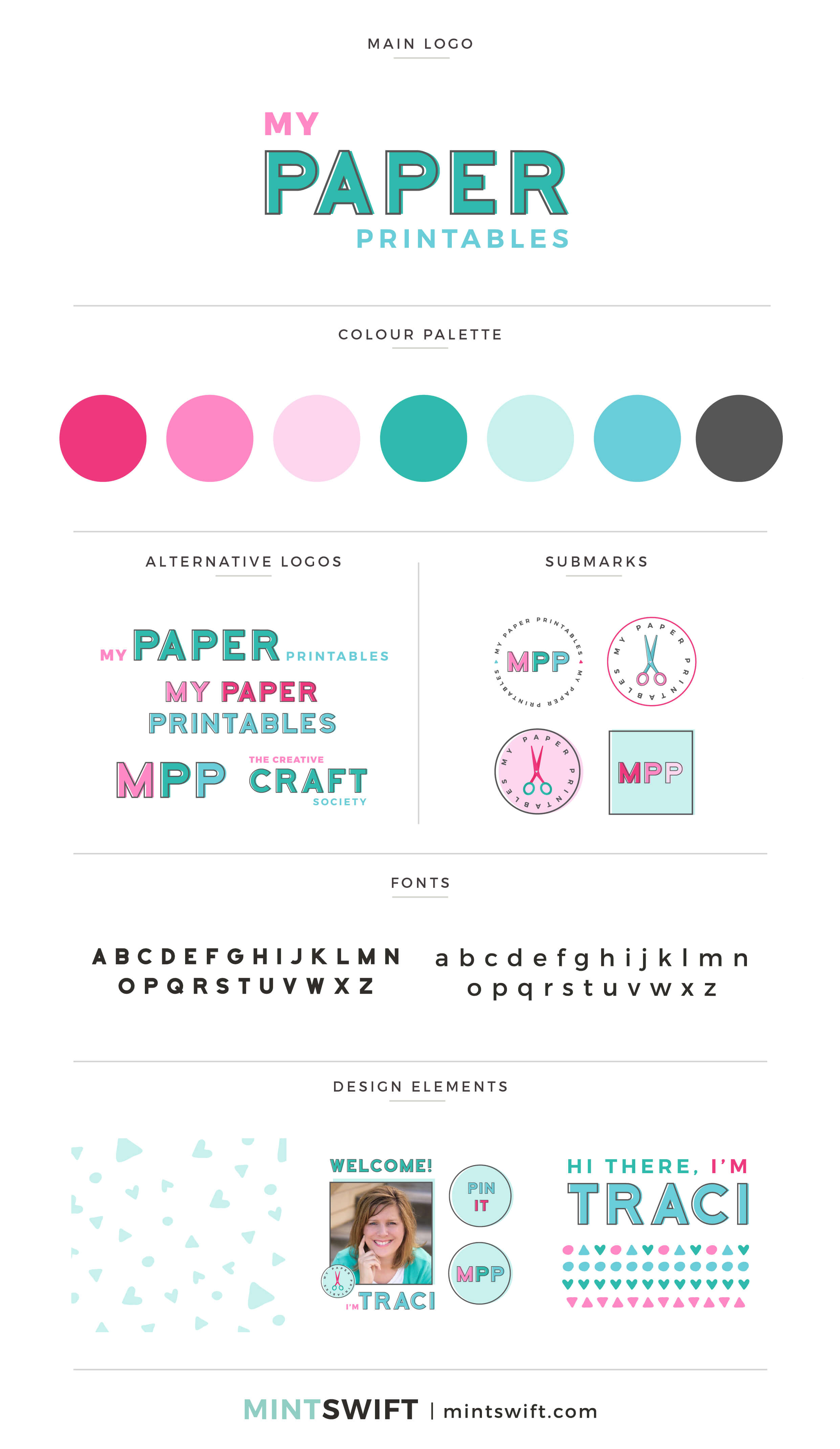 My Paper Printables - Brand Board - Brand Design Package - MintSwift