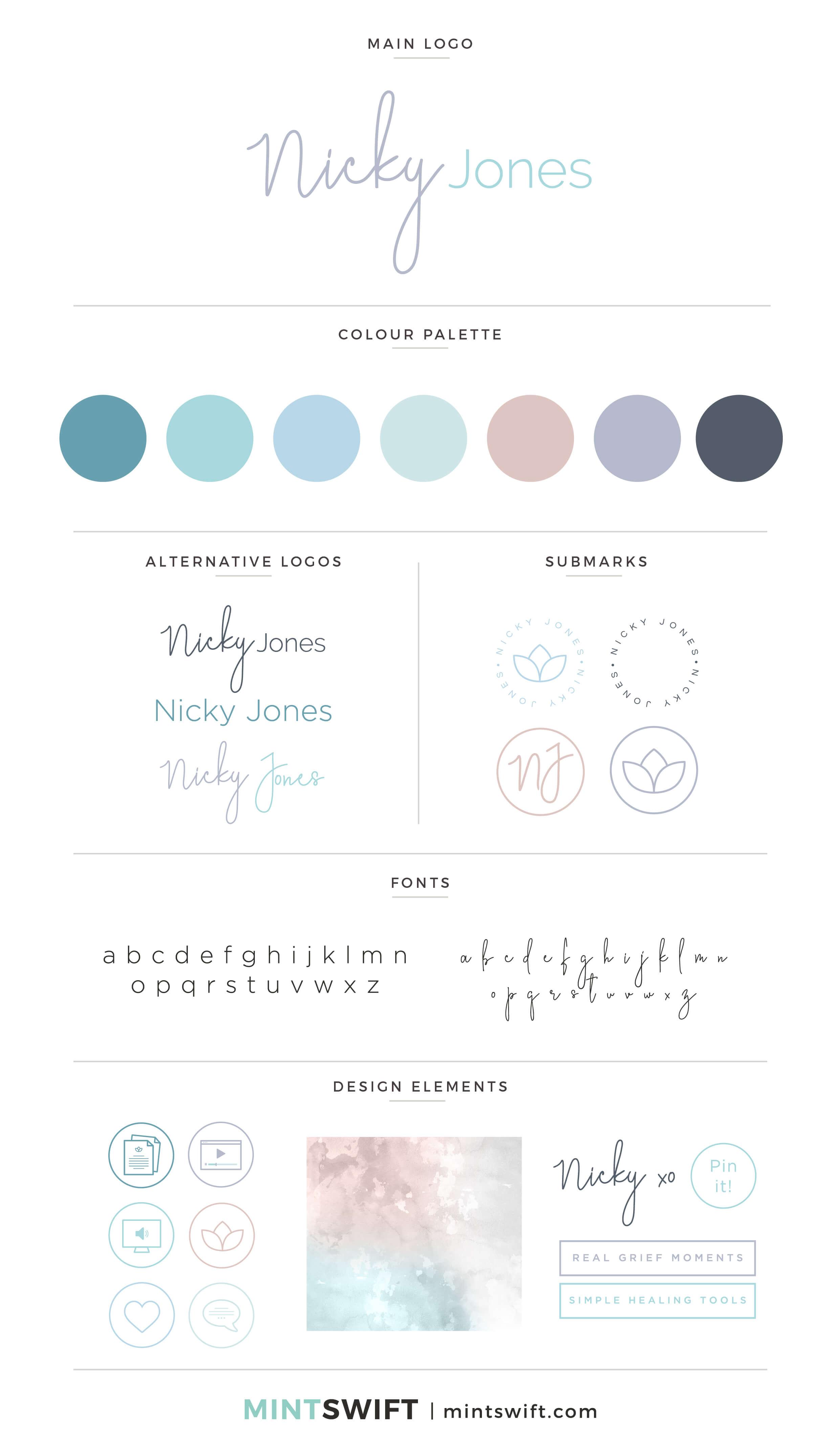 Nicky Jones - Brand Board - Brand Design Package - MintSwift
