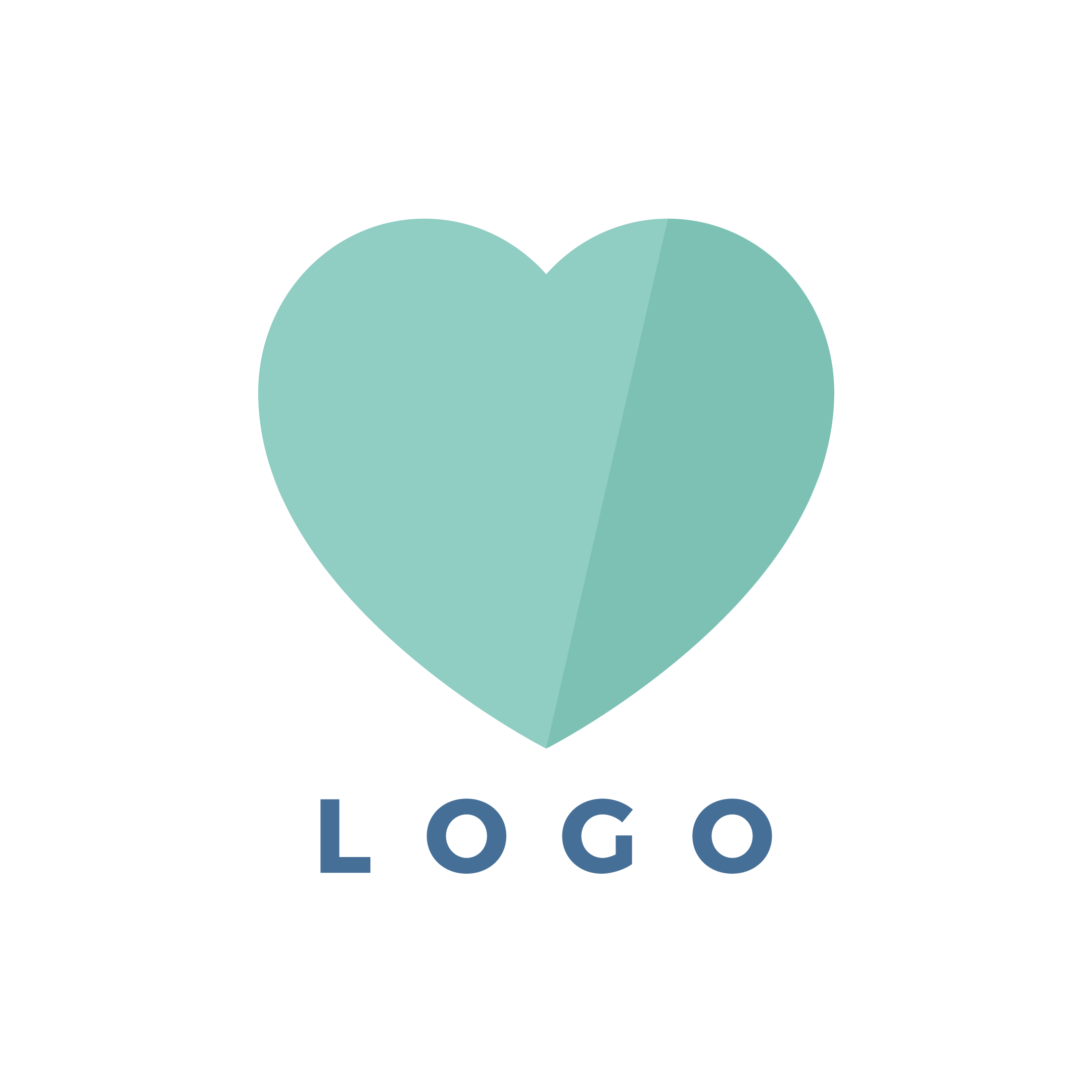 Vector illustration representing the logo design - mint heart with the logo written below it in flat design style