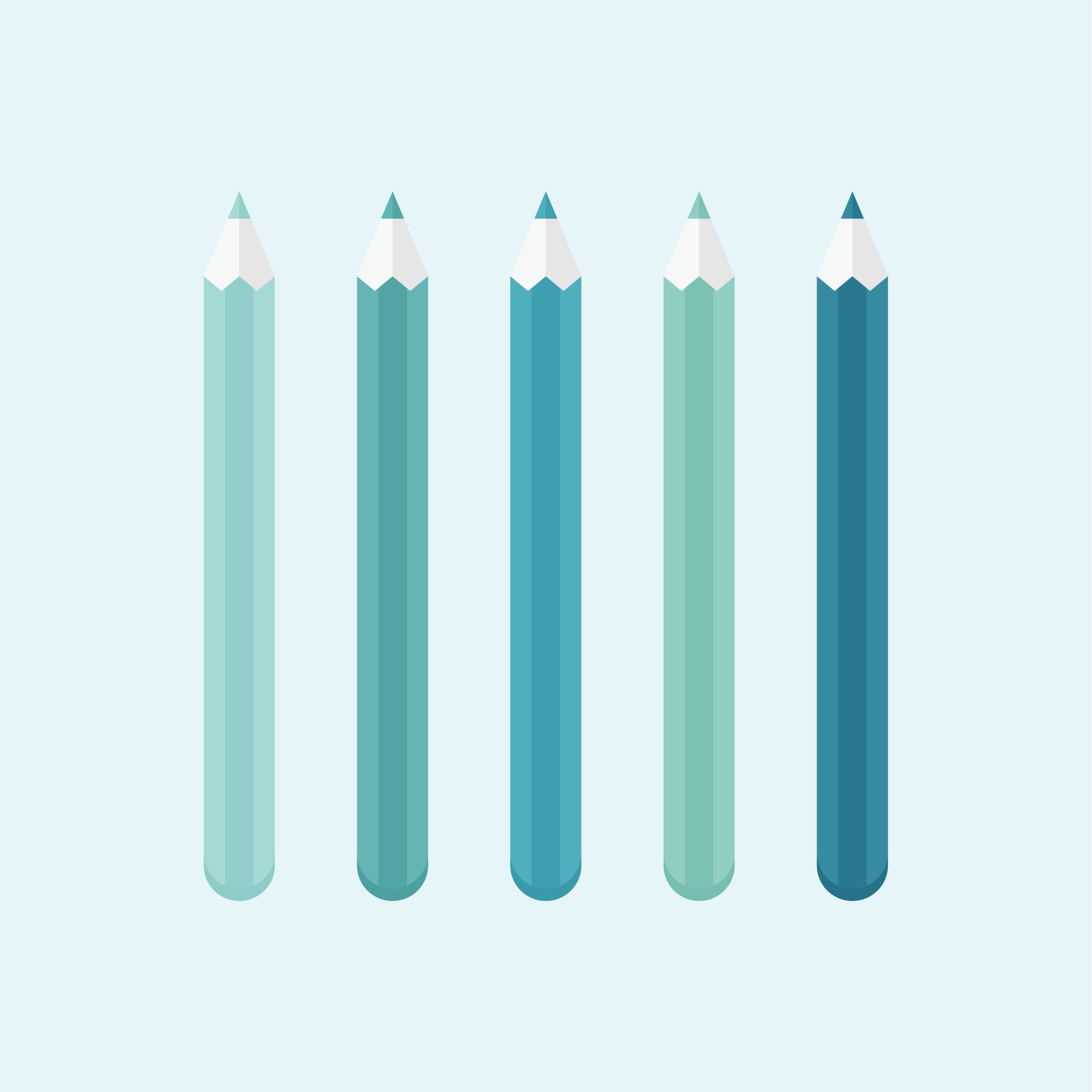 Monochromatic vector illustration of five colouring pencils in different shades of green in flat design style