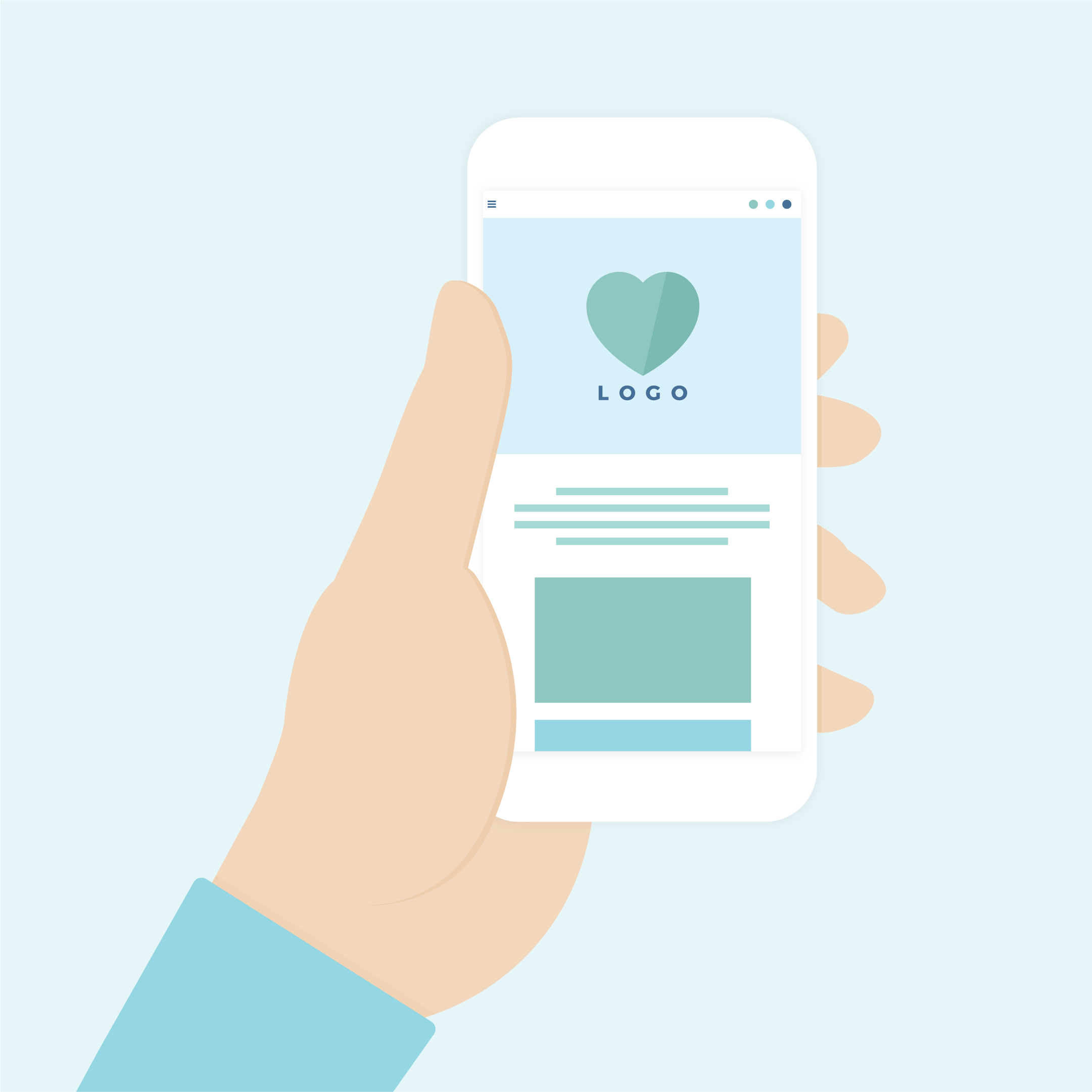Vector illustration of a hand holding a mobile phone, while viewing a website in flat design style