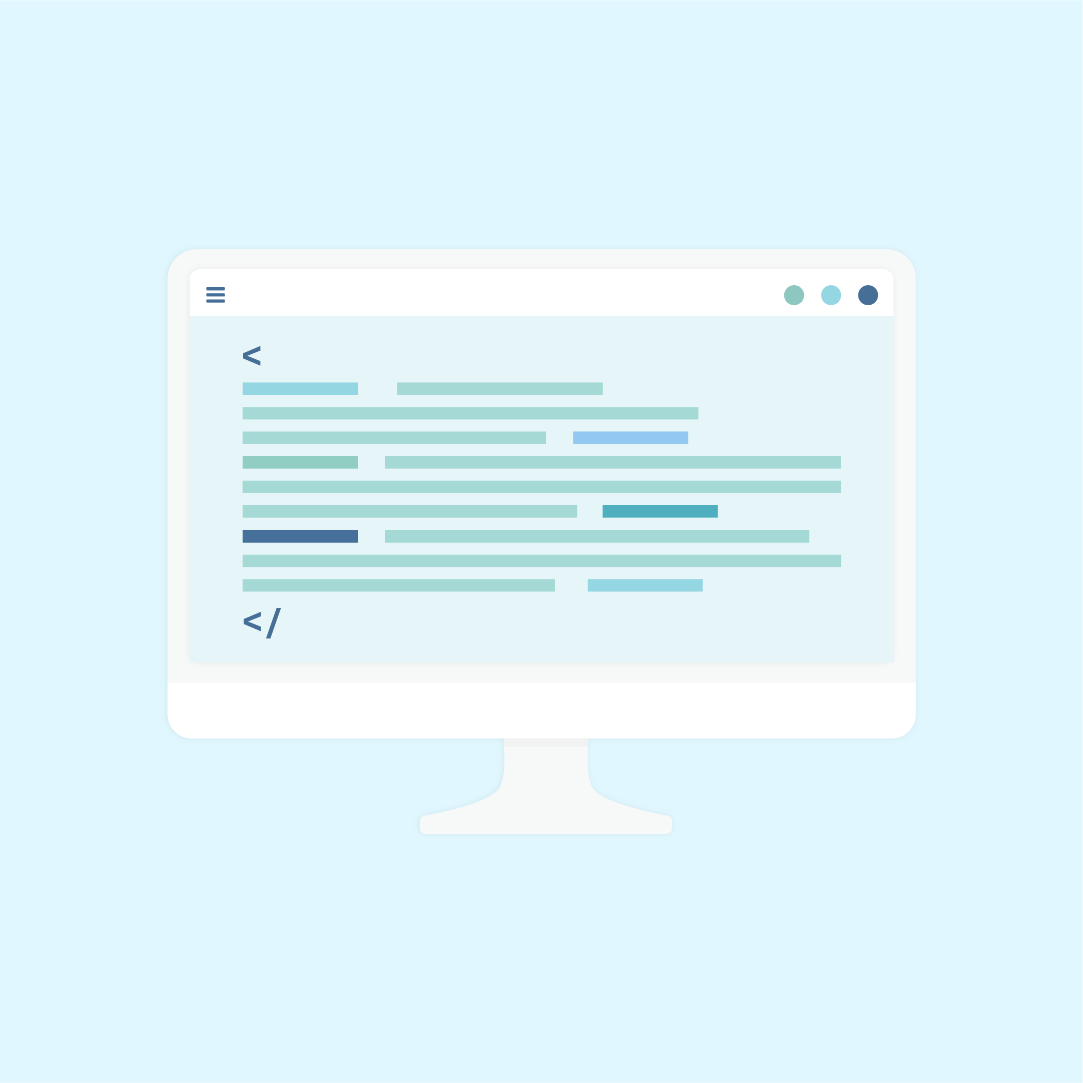 Vector illustration of desktop computer representing the custom code & CSS styling in flat design style