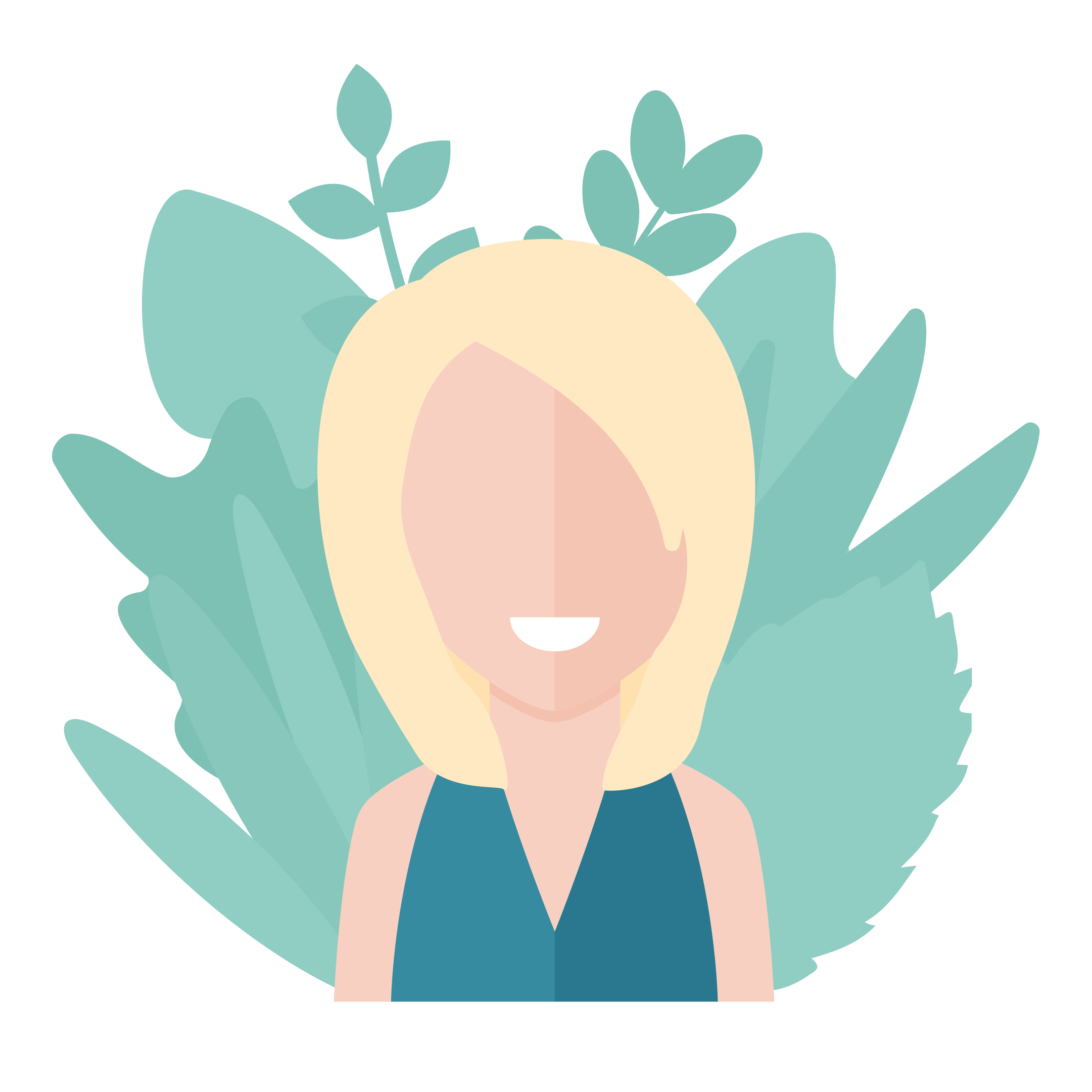 Modern avatar style vector illustration of a woman with short blond hair and teal top with mint plants around her in flat design style