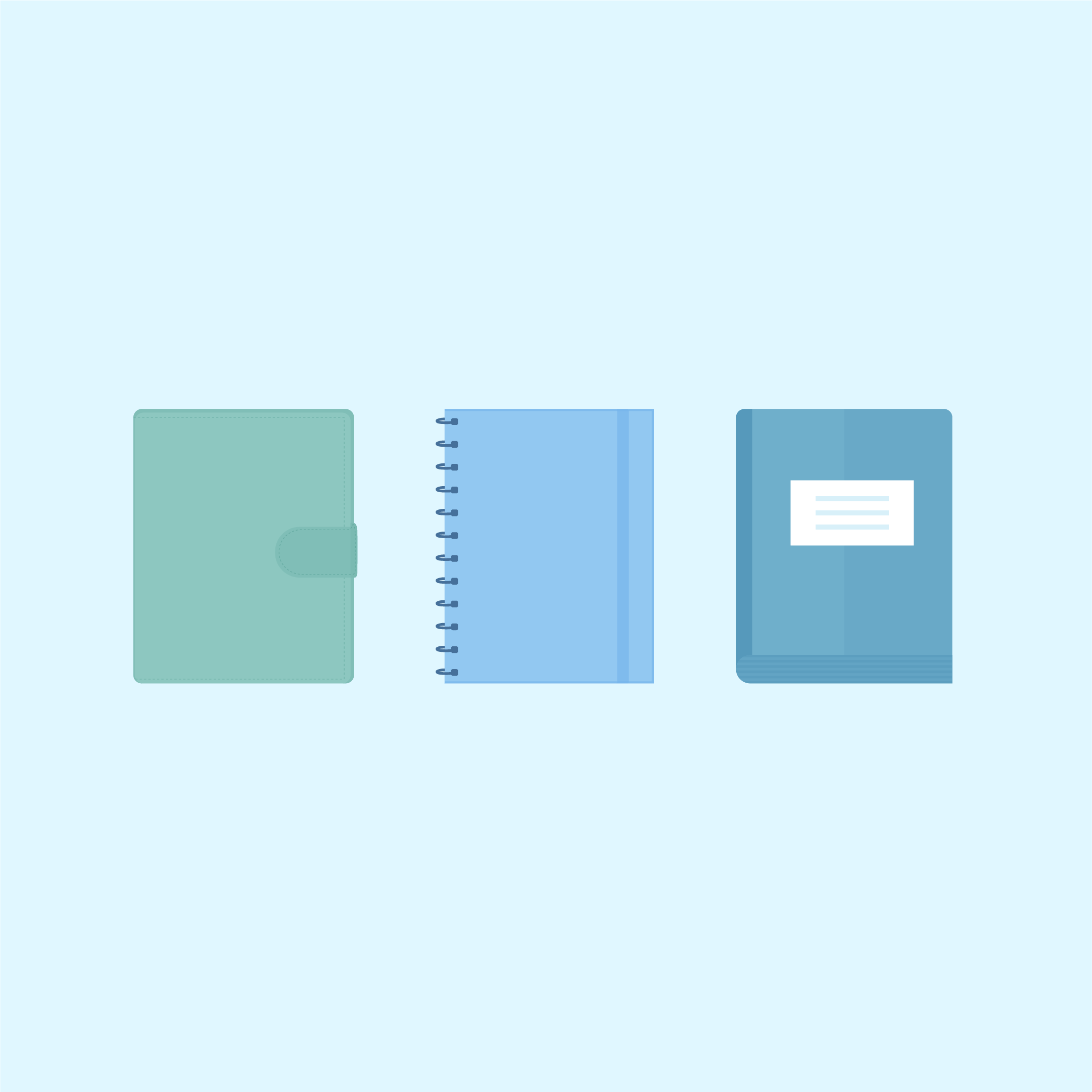 Vector illustration of three icons: mint binder-notebook, blue spiral notebook & blue book in flat design style