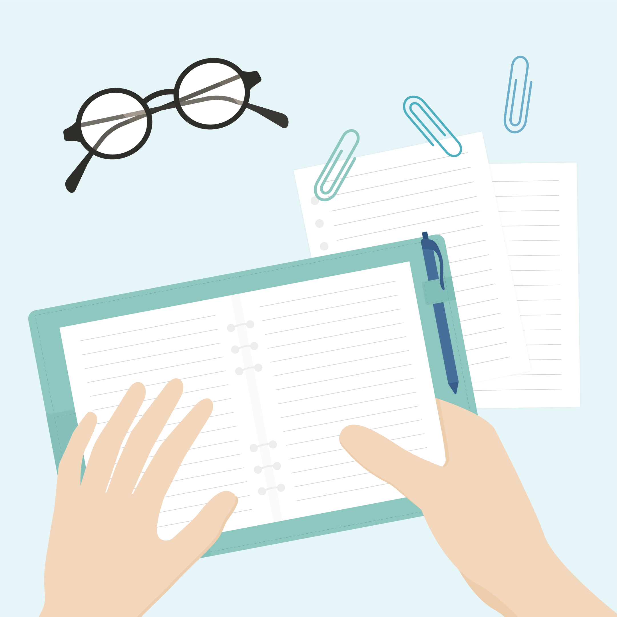 Flat lay, top view vector illustration of a desk: an open notebook & ballpoint pen with one hand on it and the other holding the page, paper clips, loose pages & eyeglasses in flat design style