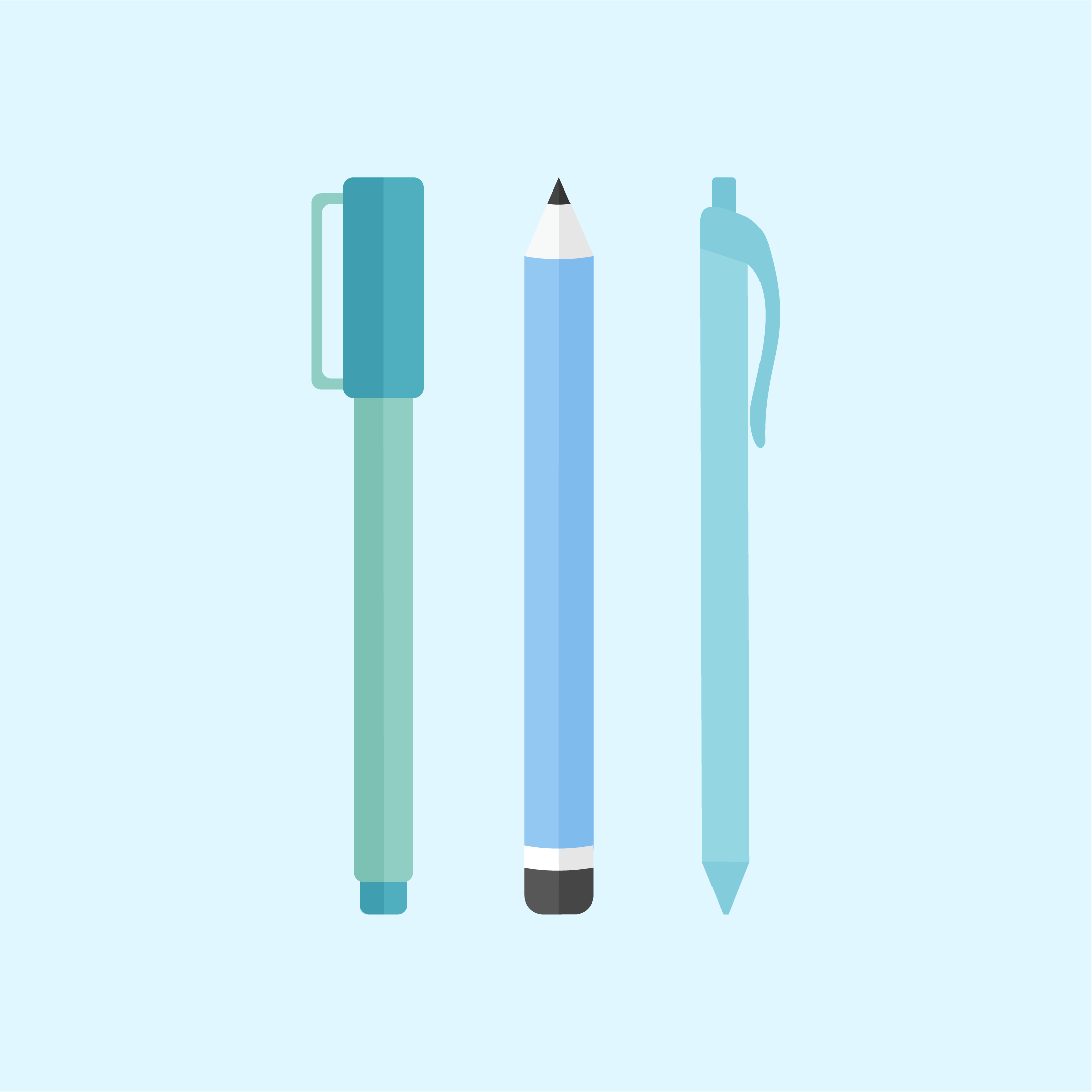 Vector illustration of three icons: a pen with a cap, pencil & ballpoint pen in flat design style