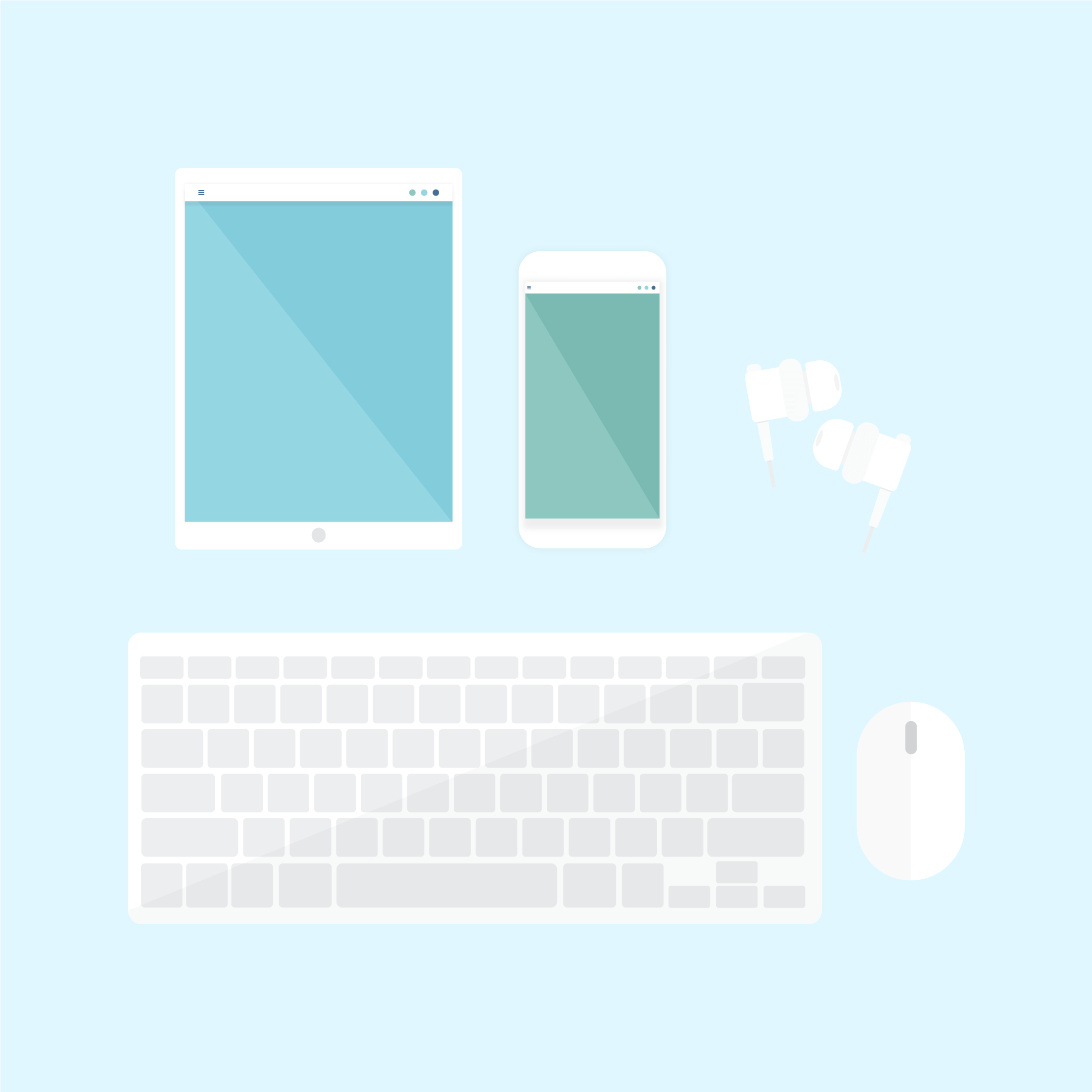 Vector illustration of white tech gadgets: tablet, smartphone, in-ear headphones, wireless mouse & wireless keyboard in flat design style