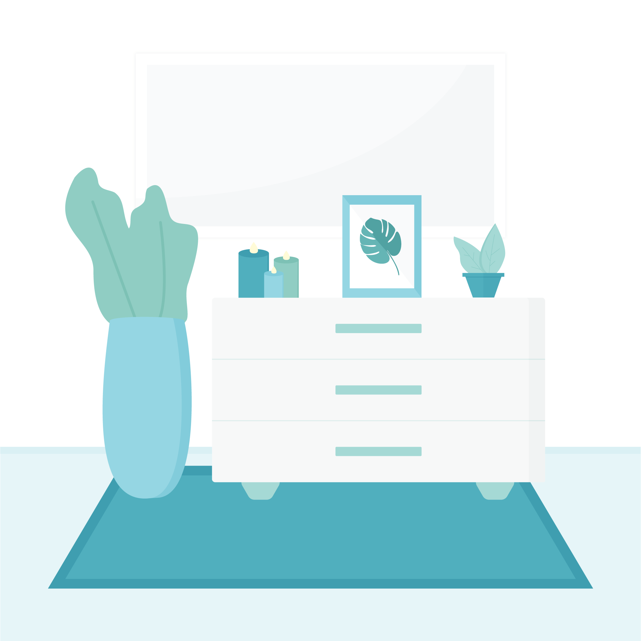 Vector scene illustration of a living room showcasing a chest of drawers, rug, candles, plants with a mirror in the background in flat design style