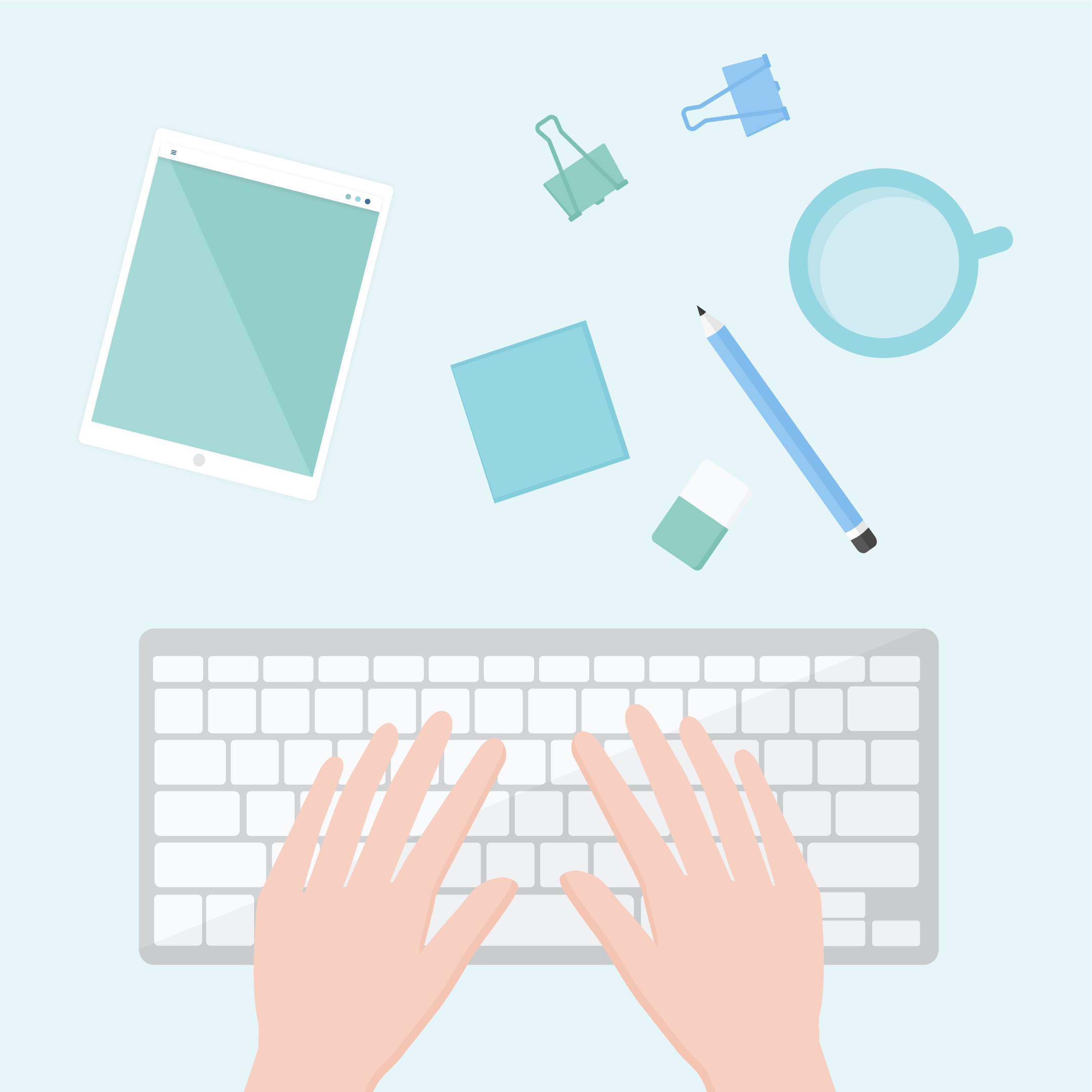 Flat lay, top view vector illustration of hands typing on a wireless keyboard, together with a tablet, a mug with water, binder clips, sticky notes, pencil & eraser in flat design style