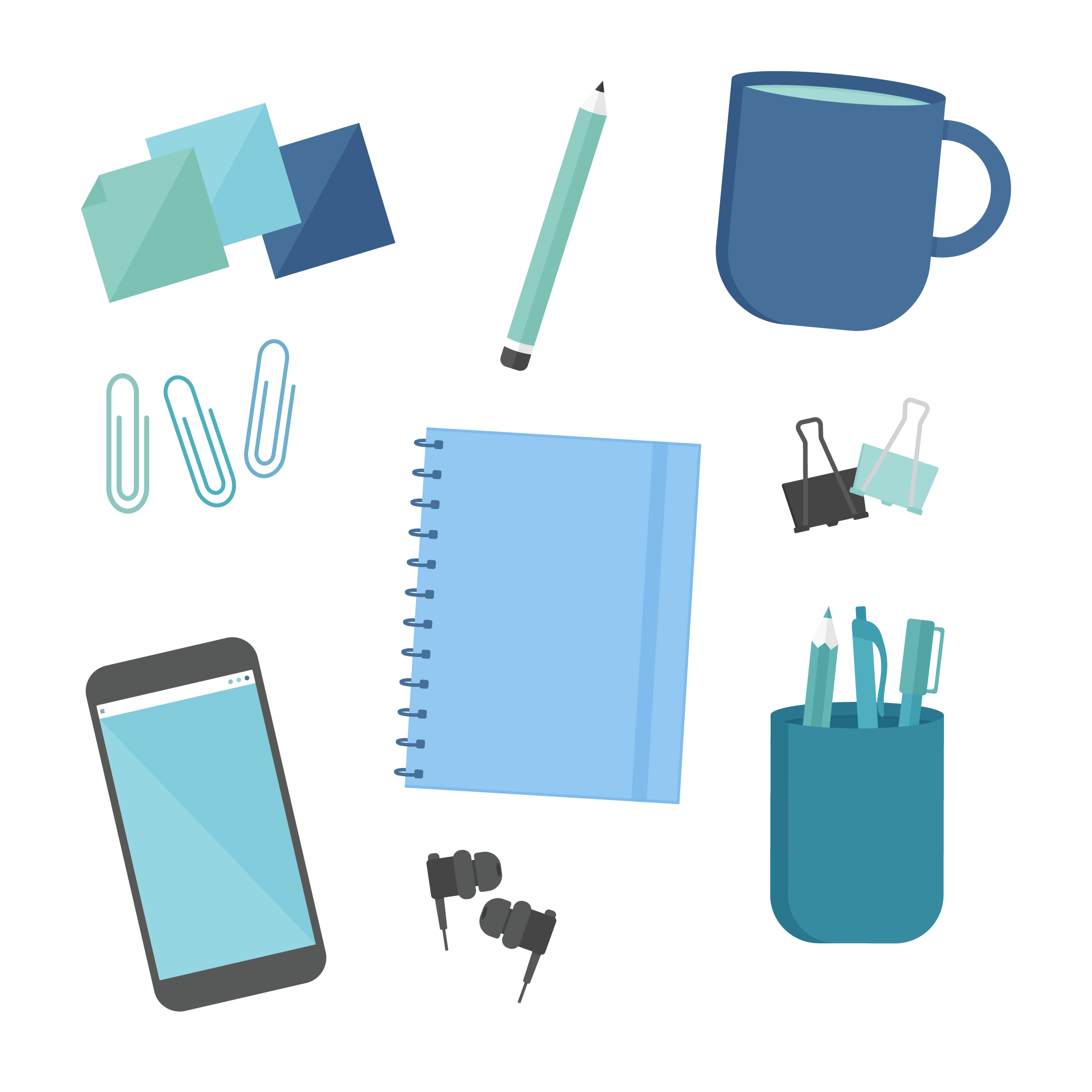 Collage illustration of blue, mint, teal, navy blue & black office supplies: sticky notes, pencil, large tea mug, paper clips, notebook, foldback/binder clips, pen holder, In-ear headphones, mobile phone in flat design style