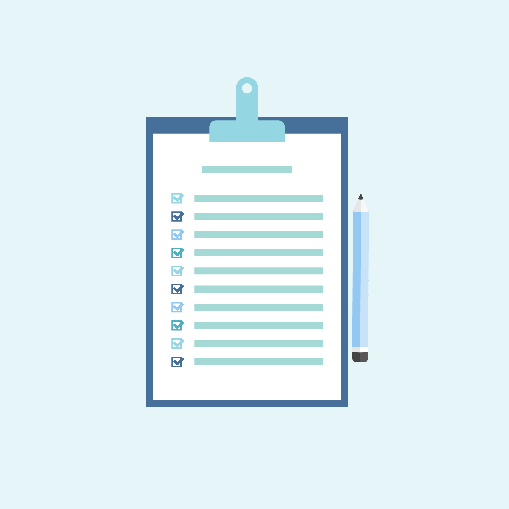 Vector illustration of a brand design questionnaire - navy blue clipboard with a checklist and blue pencil in flat design style