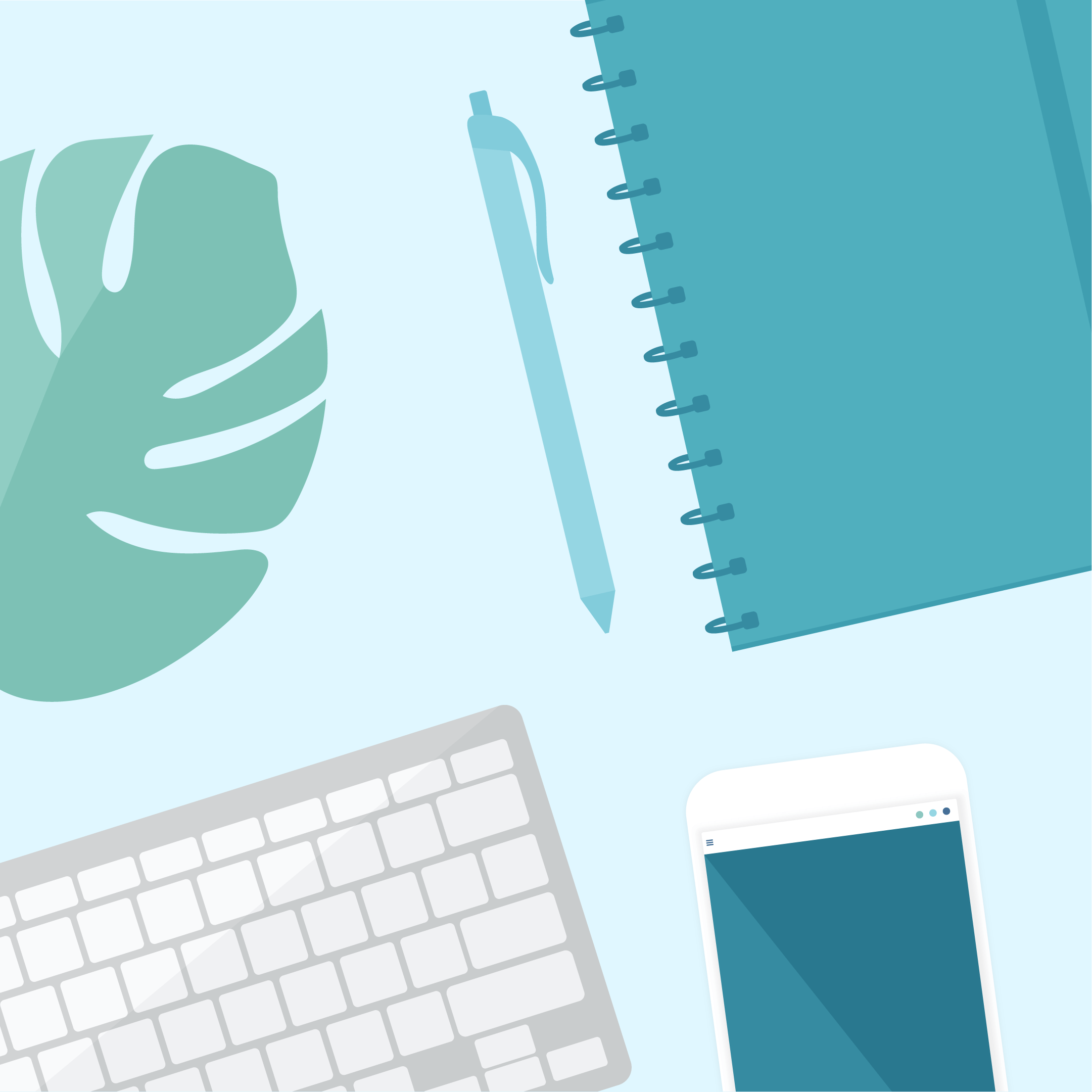 Flat lay, top view vector illustration of a desk in mint green & blue colours, including monstera leaf, spiral notebook with a ballpoint pen, wireless keyboard & smartphone in flat design style