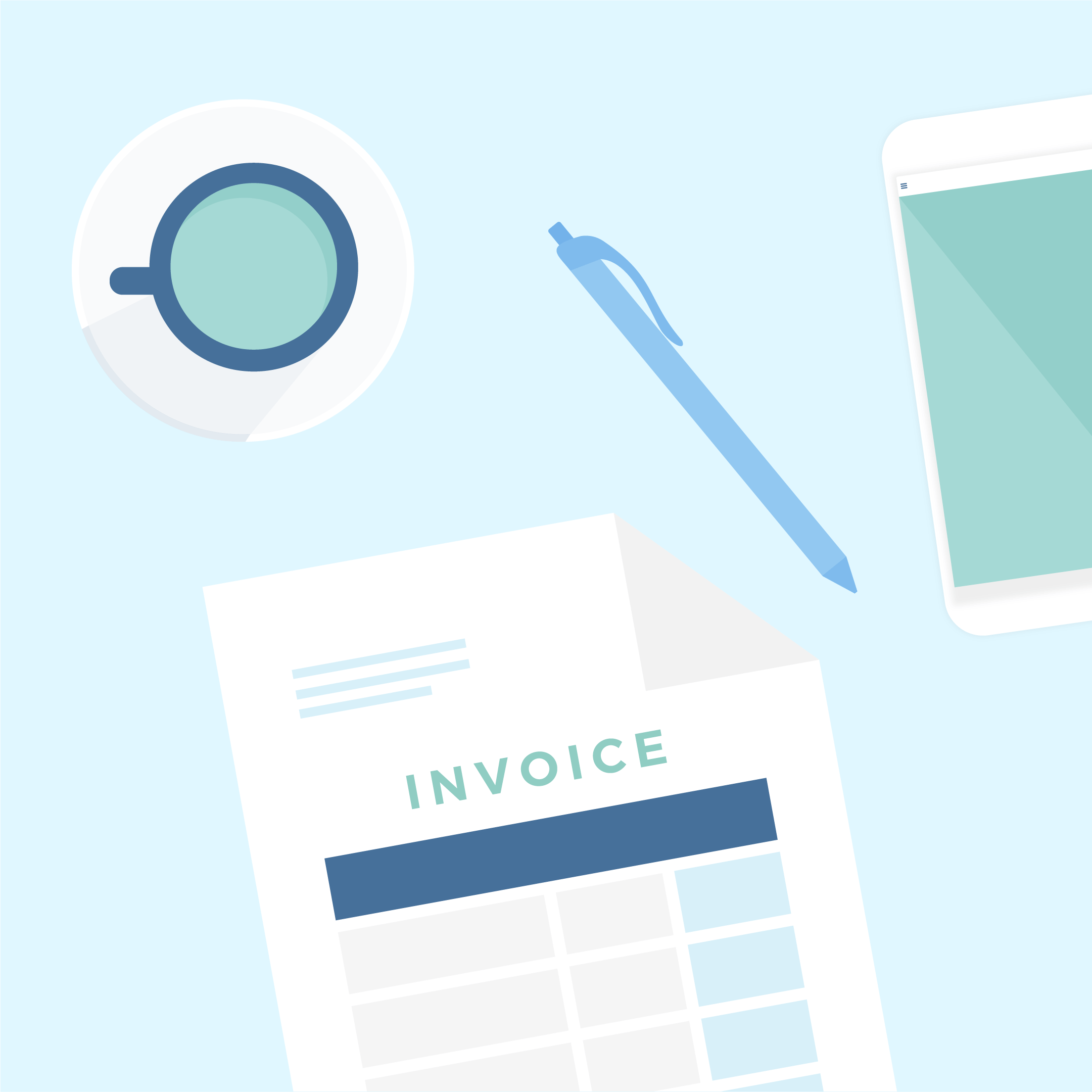 Flat lay, top view vector illustration of a desk in mint green & blue colours, including a cup with green tea on a saucer, blue ballpoint pen, invoice & mobile phone in flat design style