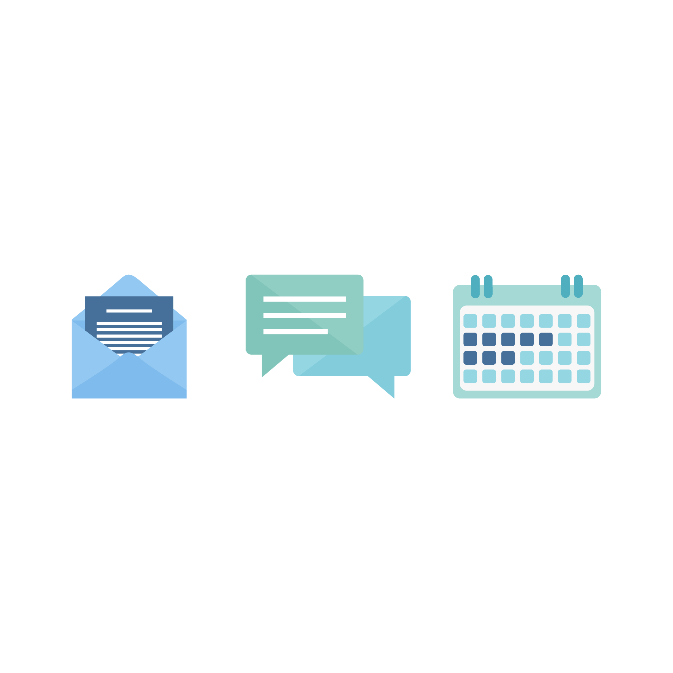 Vector illustration of three icons: design inquiry (open envelope), the chat (speech balloons) and booking the project (calendar) in flat design style