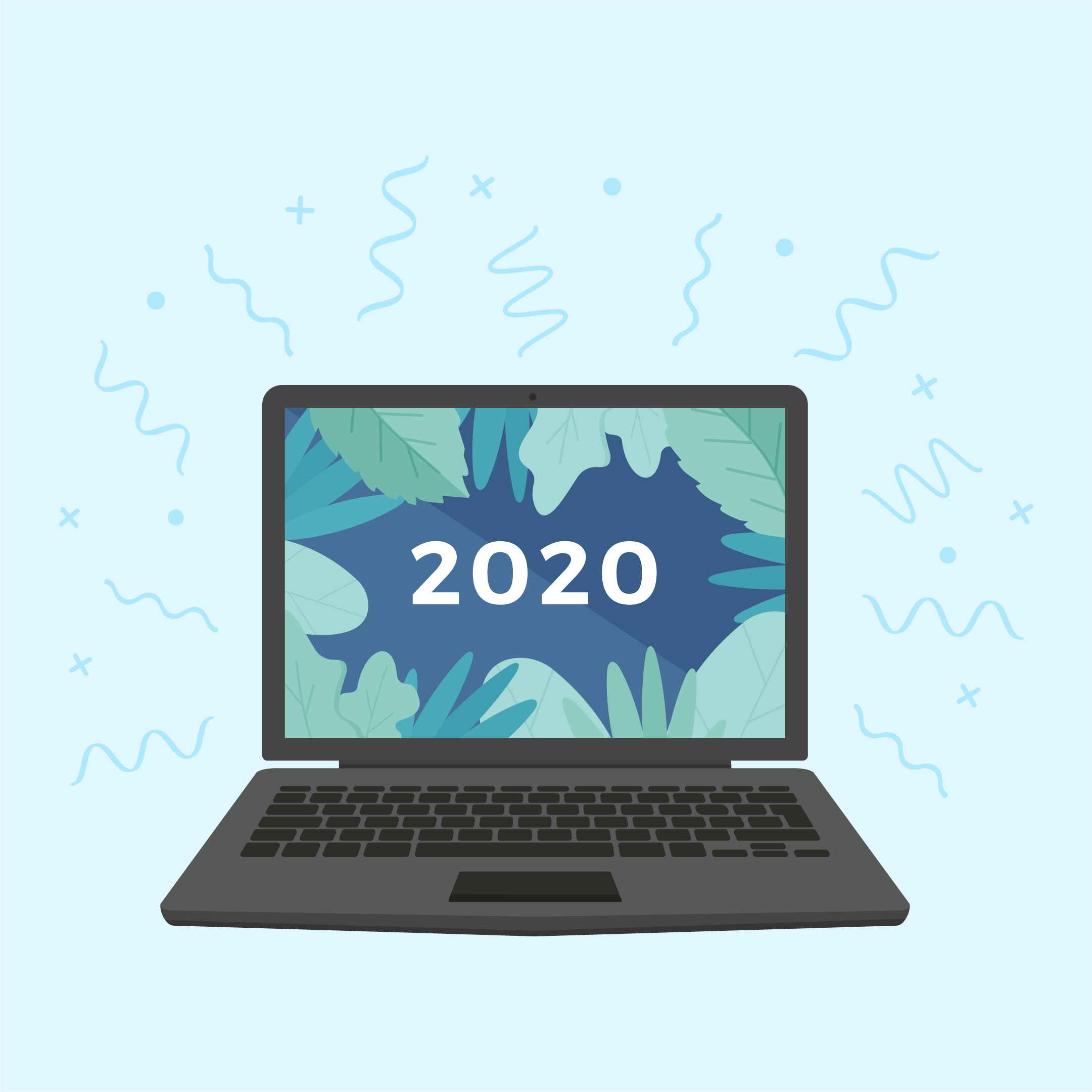 Vector illustration of a black laptop with 2020 & plants on the screen with fireworks around it in flat design style