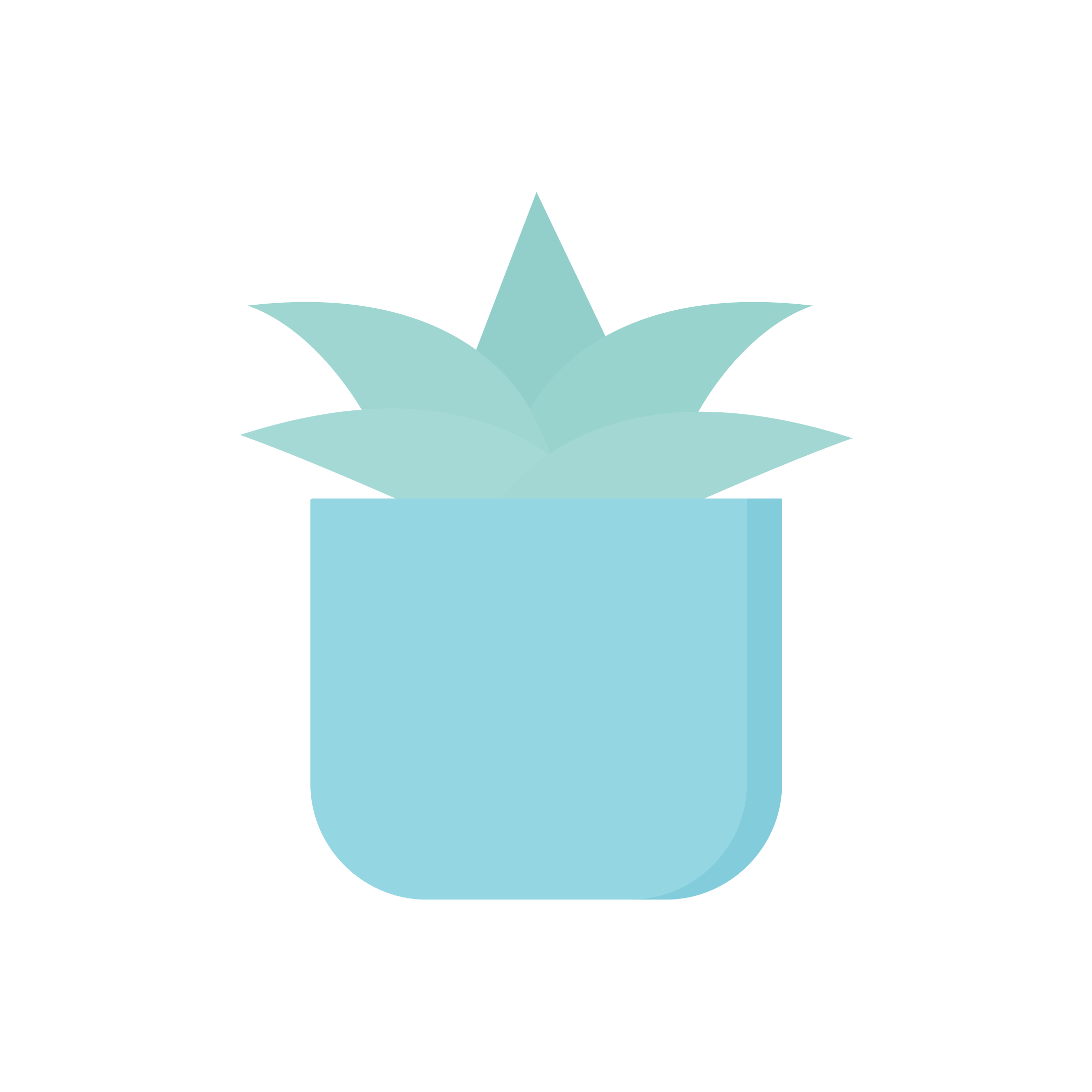 Vector illustration of a light mint succulent in a blue pot in flat design style