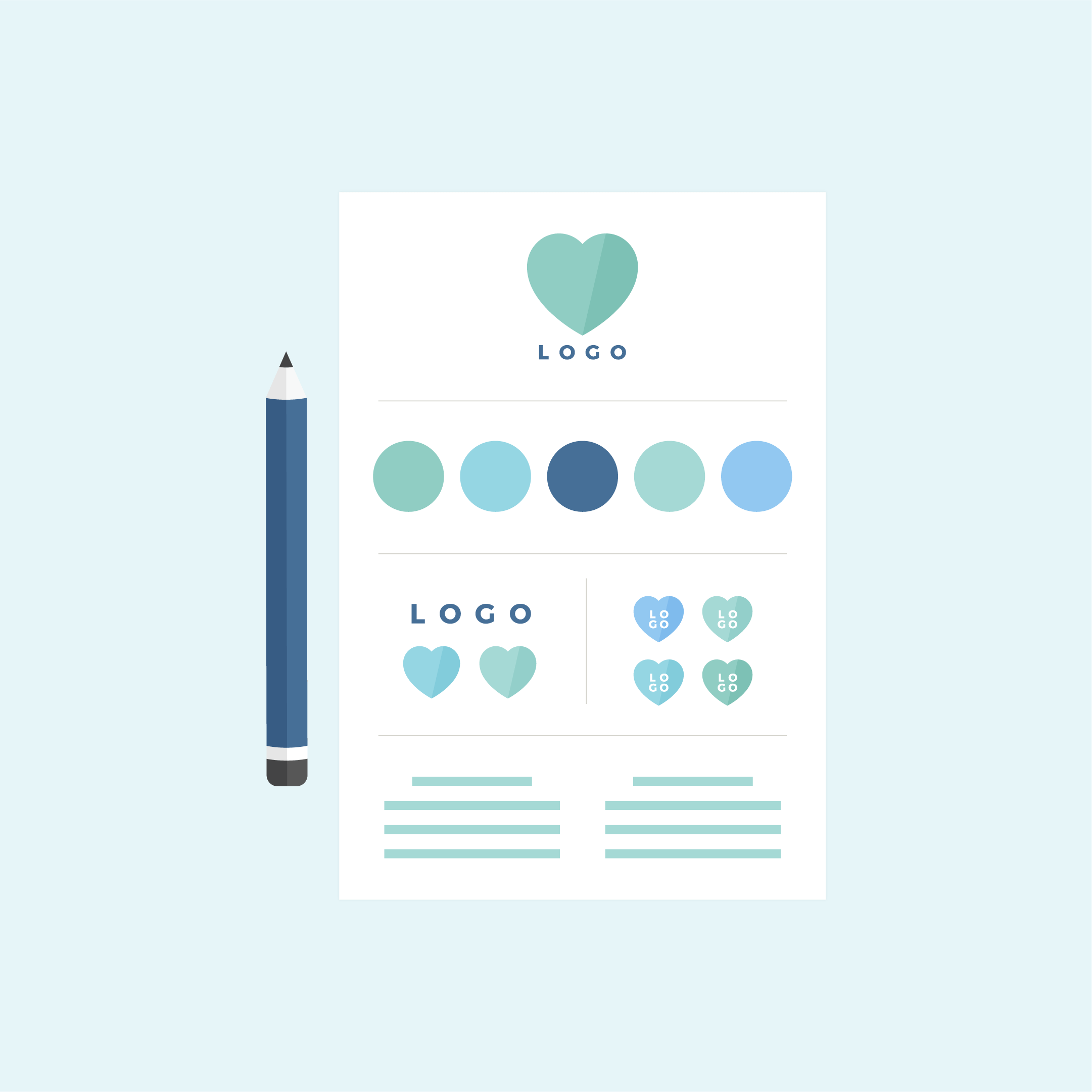 Vector illustration of a brand board including main logo, colour palette, submarks, alternative logos and navy blue pencil in flat design style