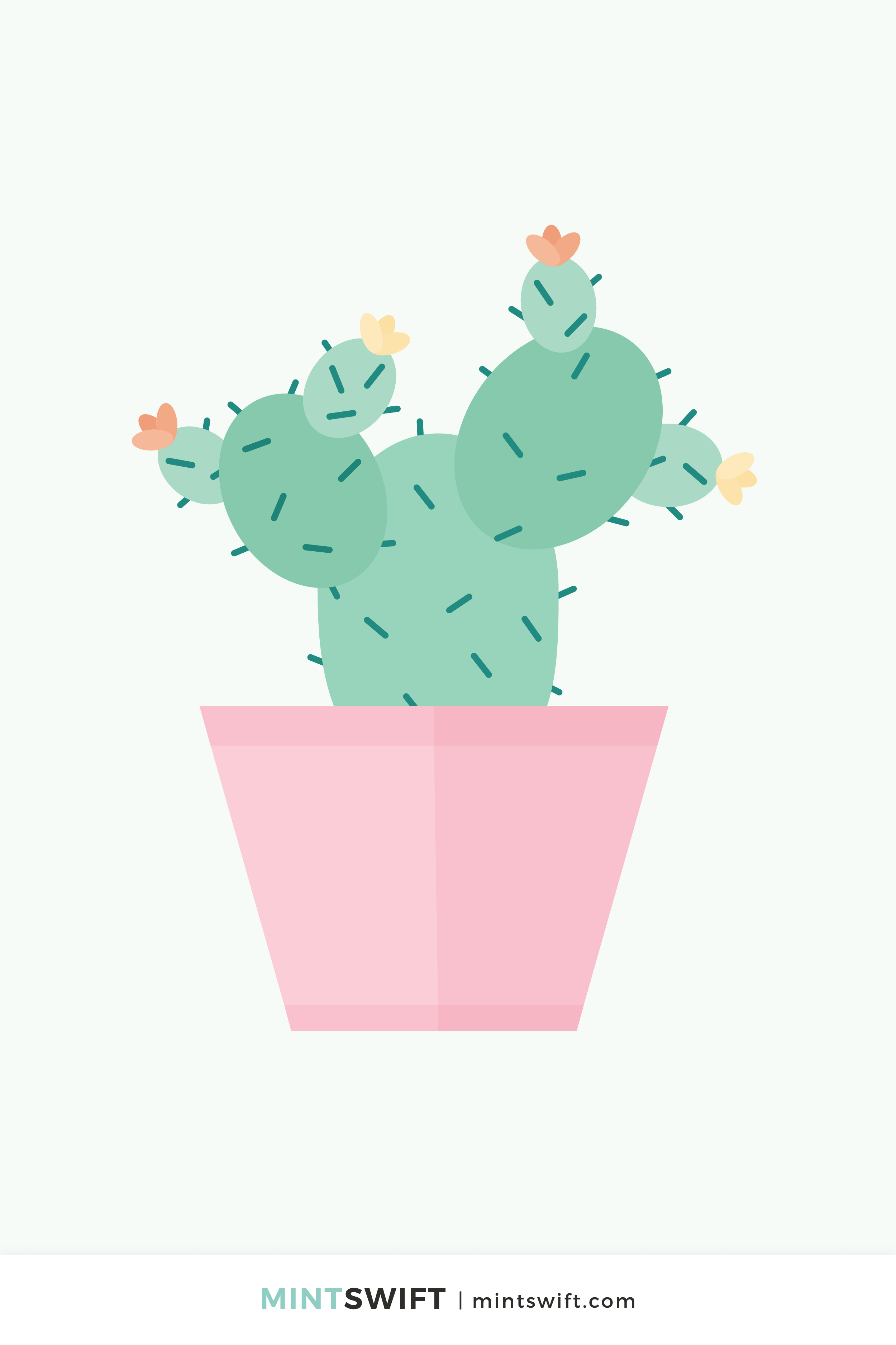 Vector illustration of a cactus in flat design style. Light green cacti, with yellow & orange flowers, inside of a pink pot on a light grey background