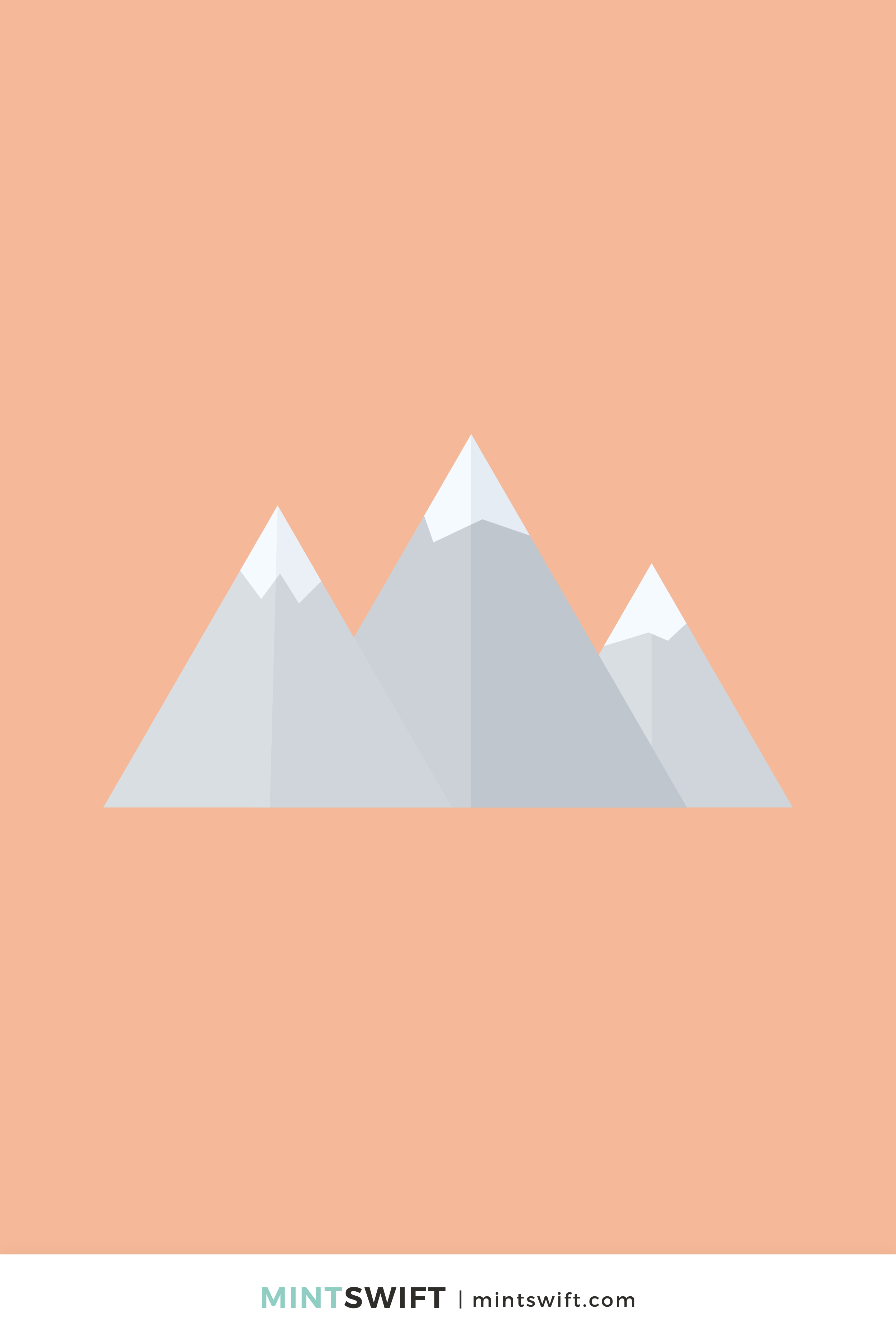 Snow-covered light grey mountain peaks vector illustration in flat design style on an orange background