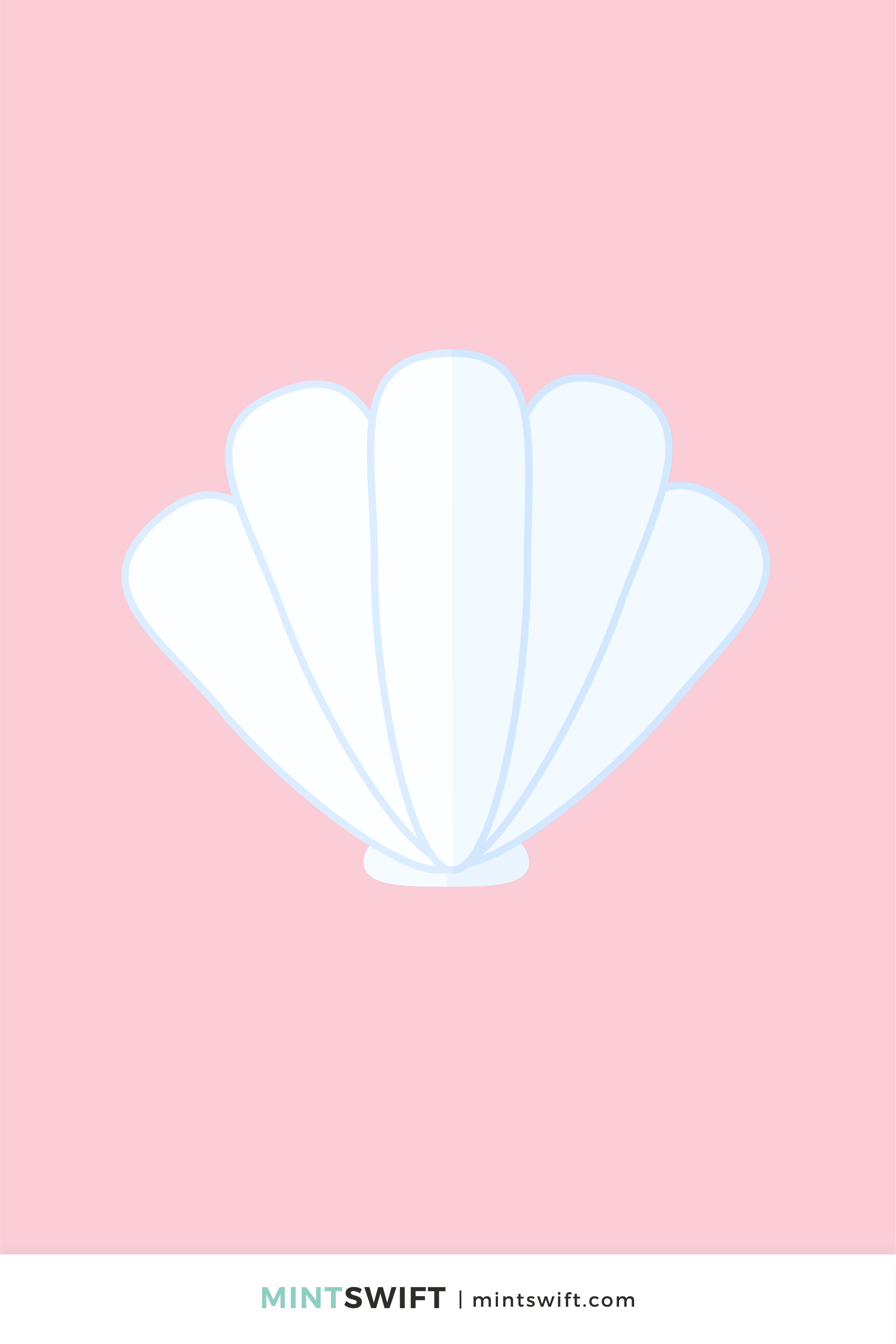 Light blue and white seashell vector illustration in flat design style on a pink background
