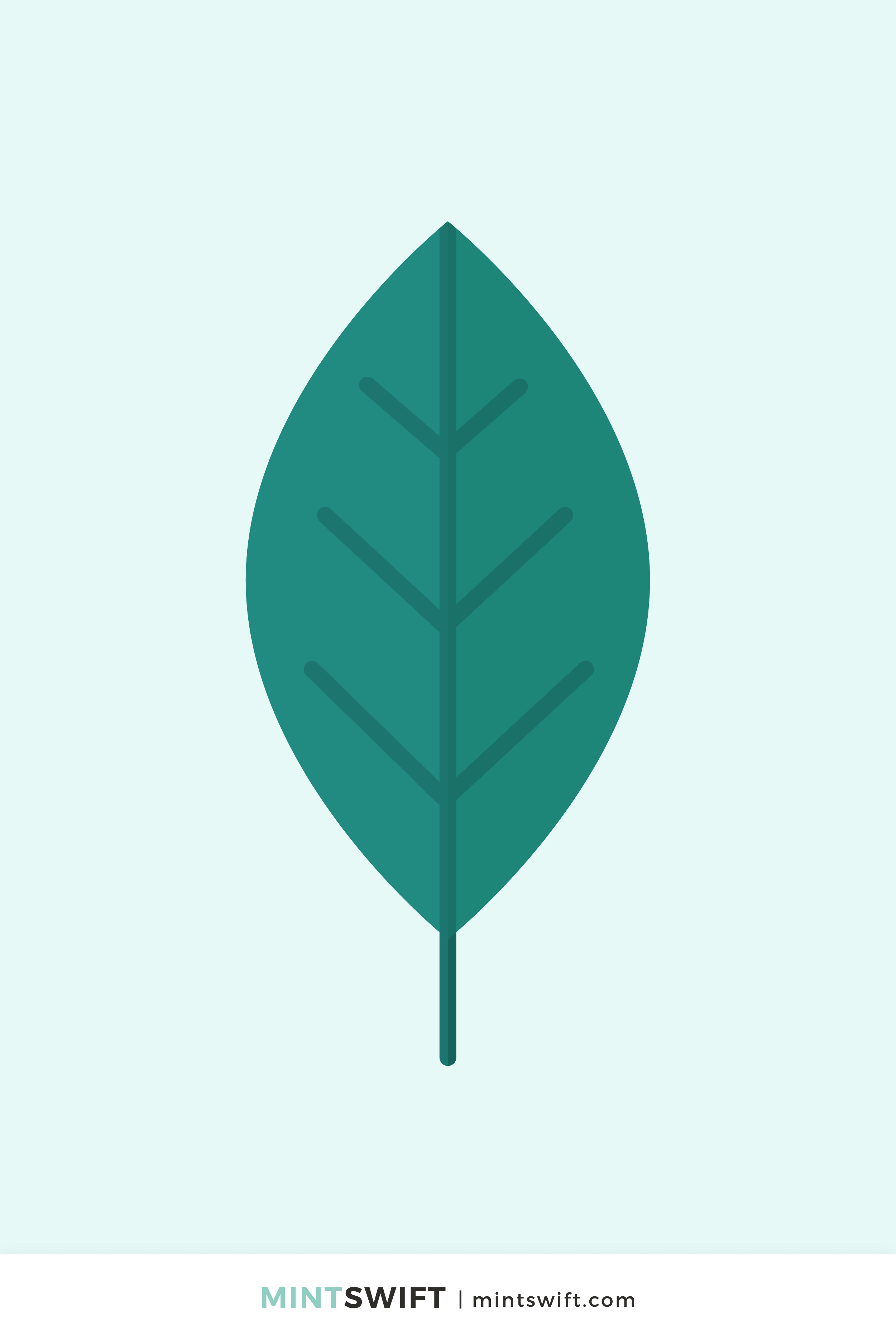 Dark green simple leaf vector illustration in flat design style on a light mint background