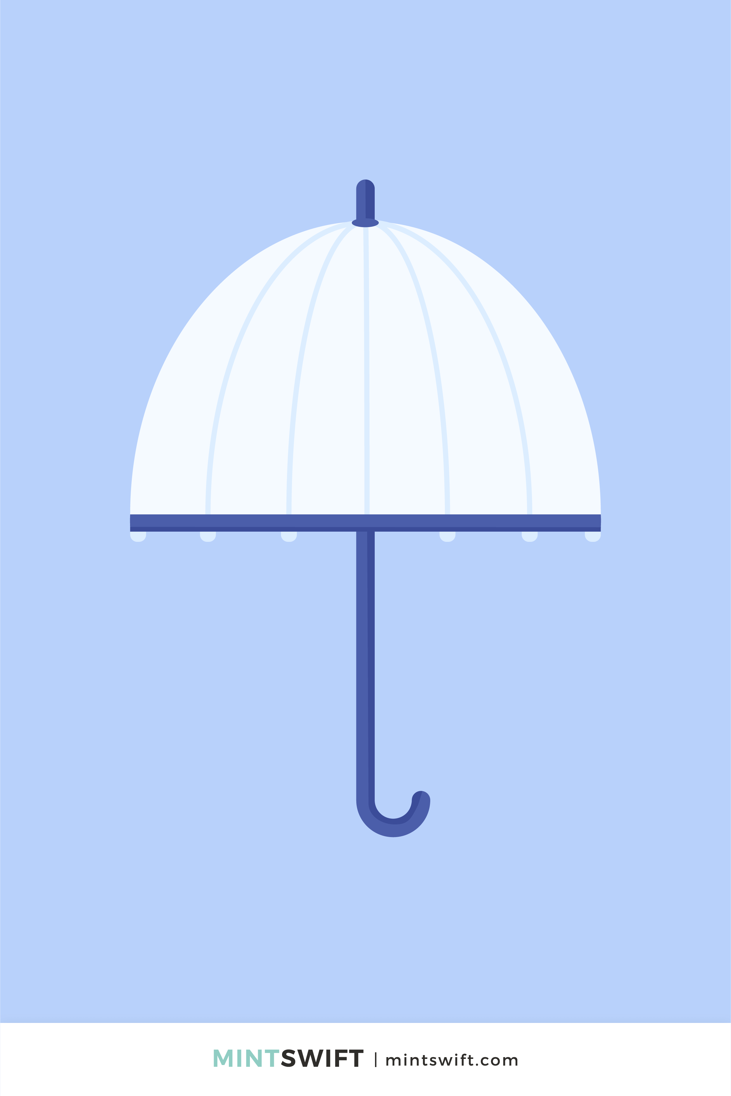 Vector illustration of Queen's Fulton umbrella in flat design style. Transparent domed umbrella drawing with navy blue handle and light purple background
