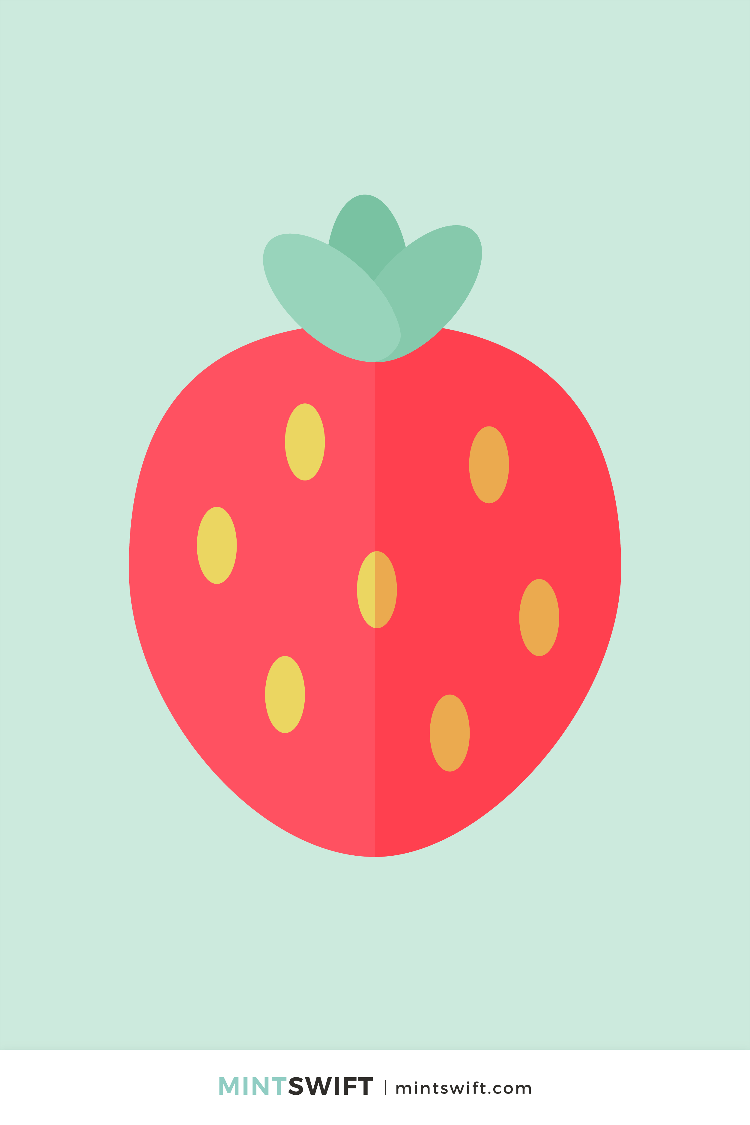 Vector illustration of a strawberry in flat design style. Red fruit with yellow seeds on the outside and three green leaves on a light green background