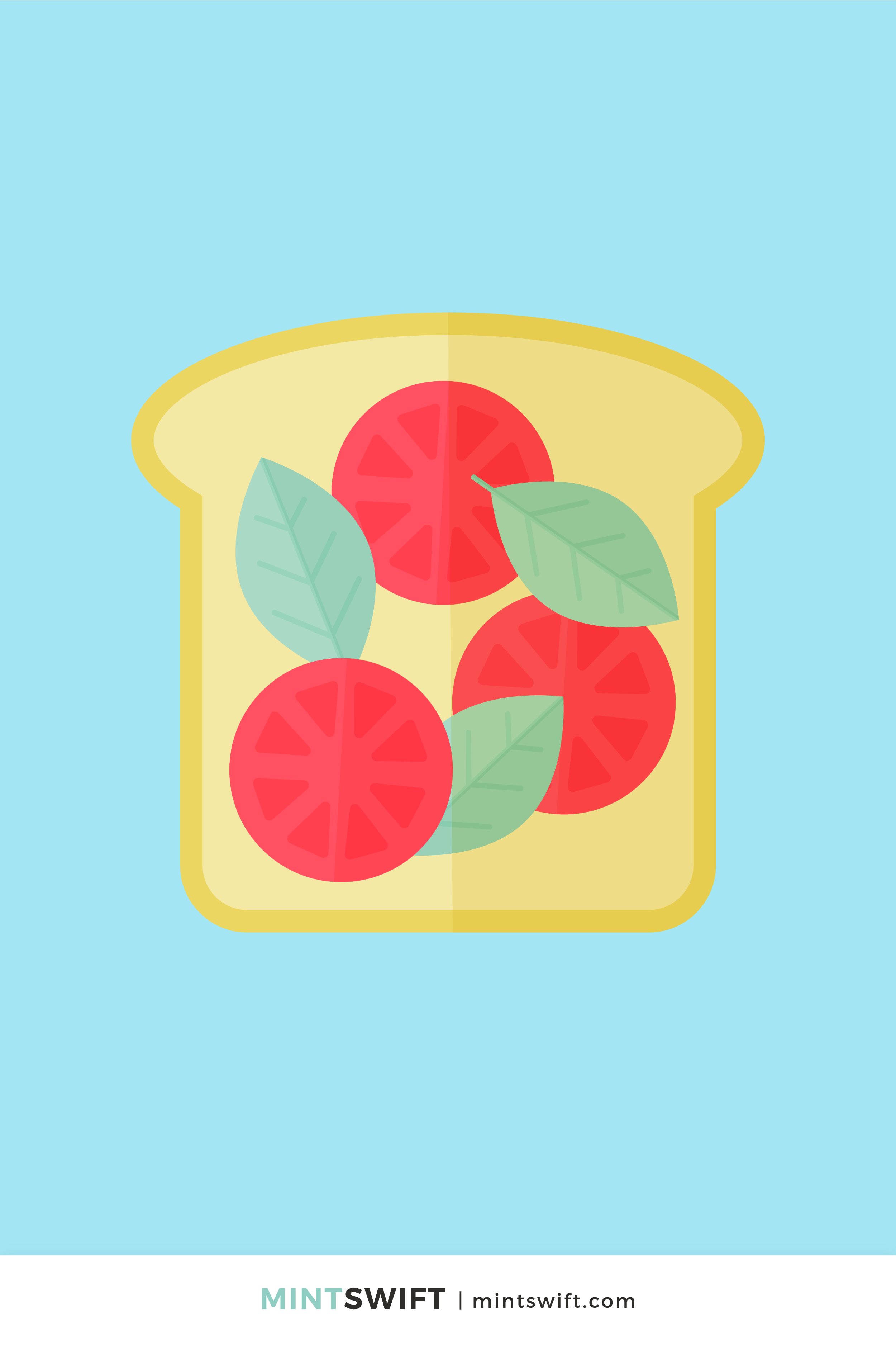 Vector illustration of a toast with tomato slices and basil leaves in flat design style on a sky blue background