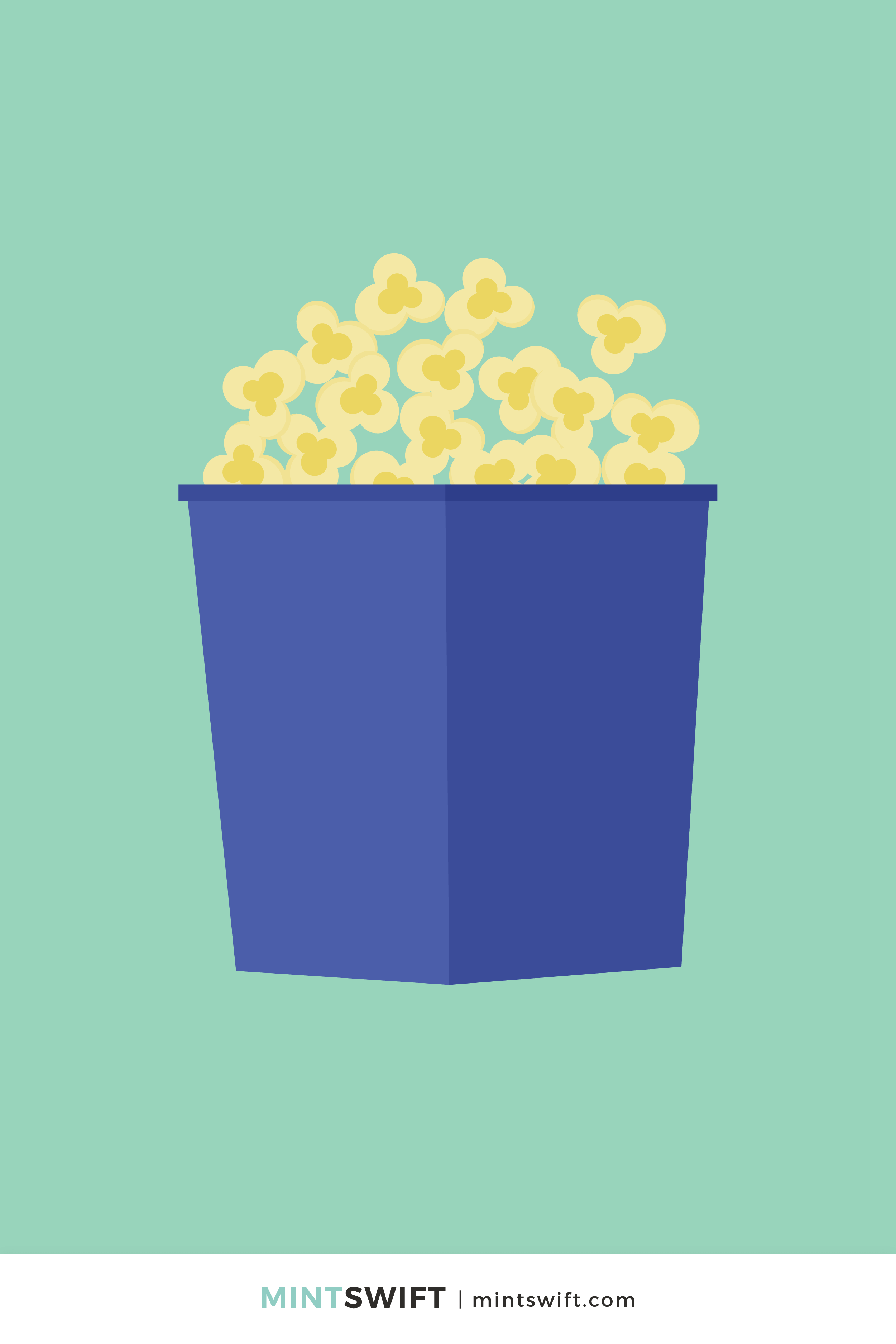 Navy blue bag with popcorn vector illustration in flat design style on a green background