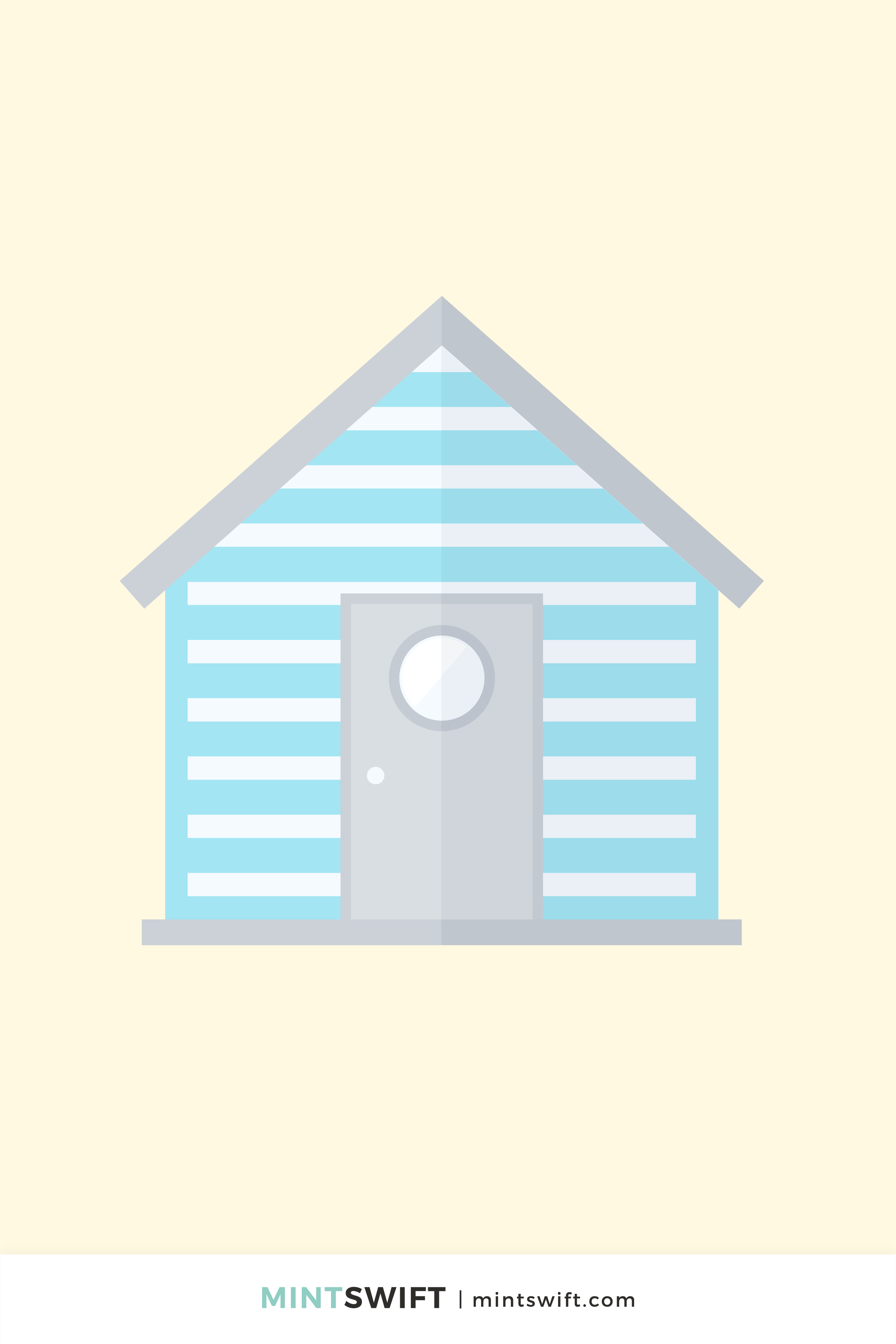 Vector illustration of a grey and light blue British beach hut in flat design style on a light yellow background