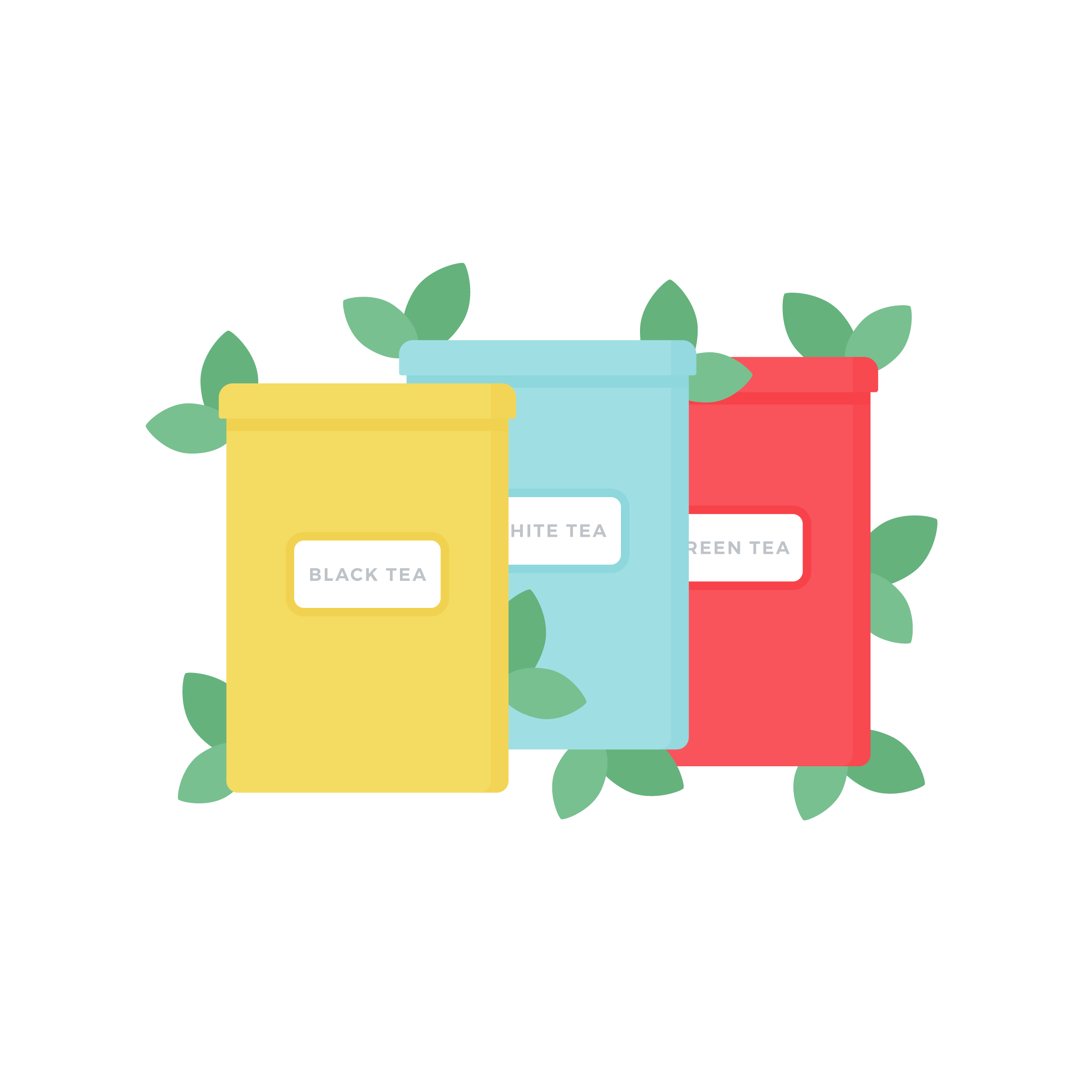 Vector illustration of three tins with tea & leaves around them in flat design style