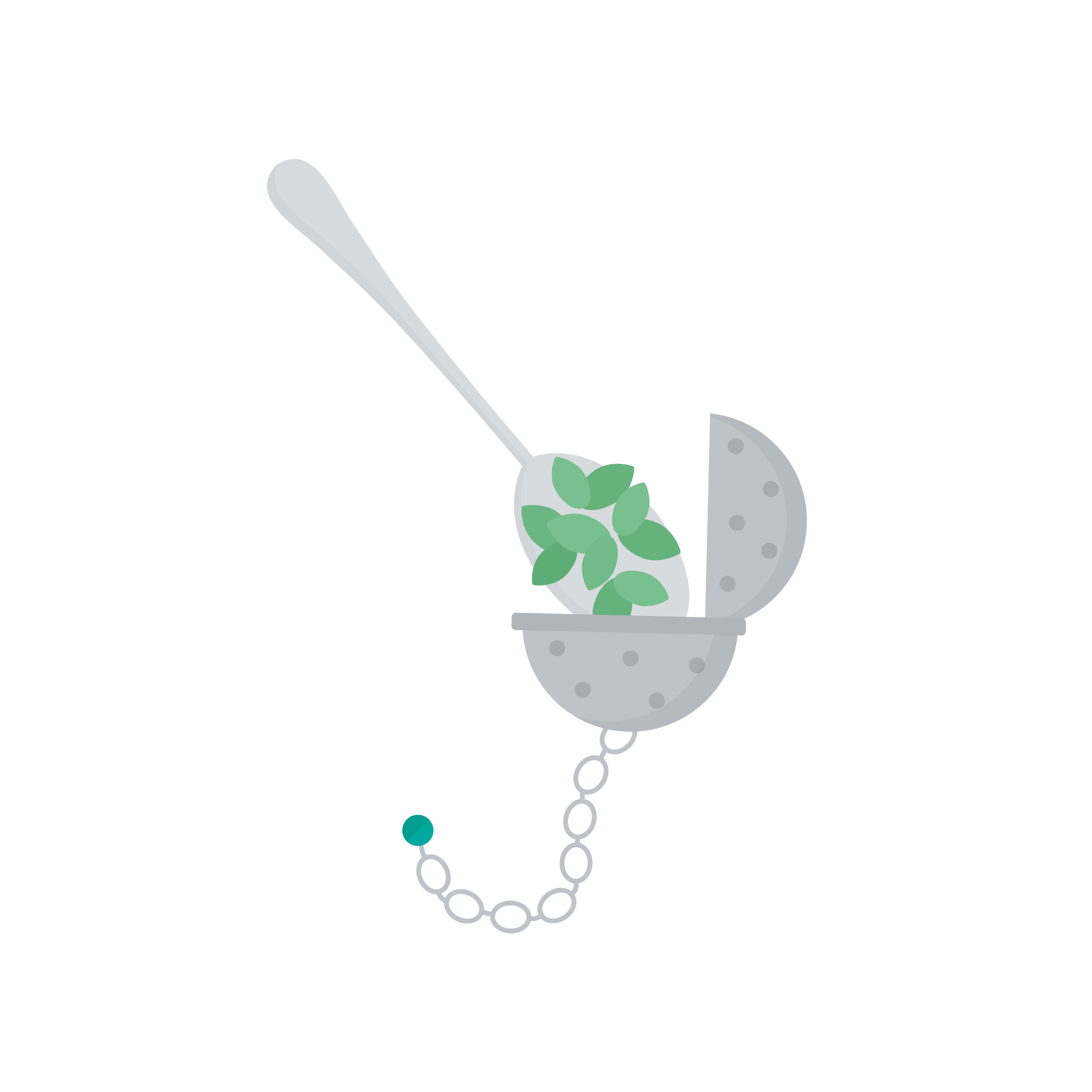 Vector illustration of a spoon adding a loose leaf tea into a tea infuser ball in flat design style