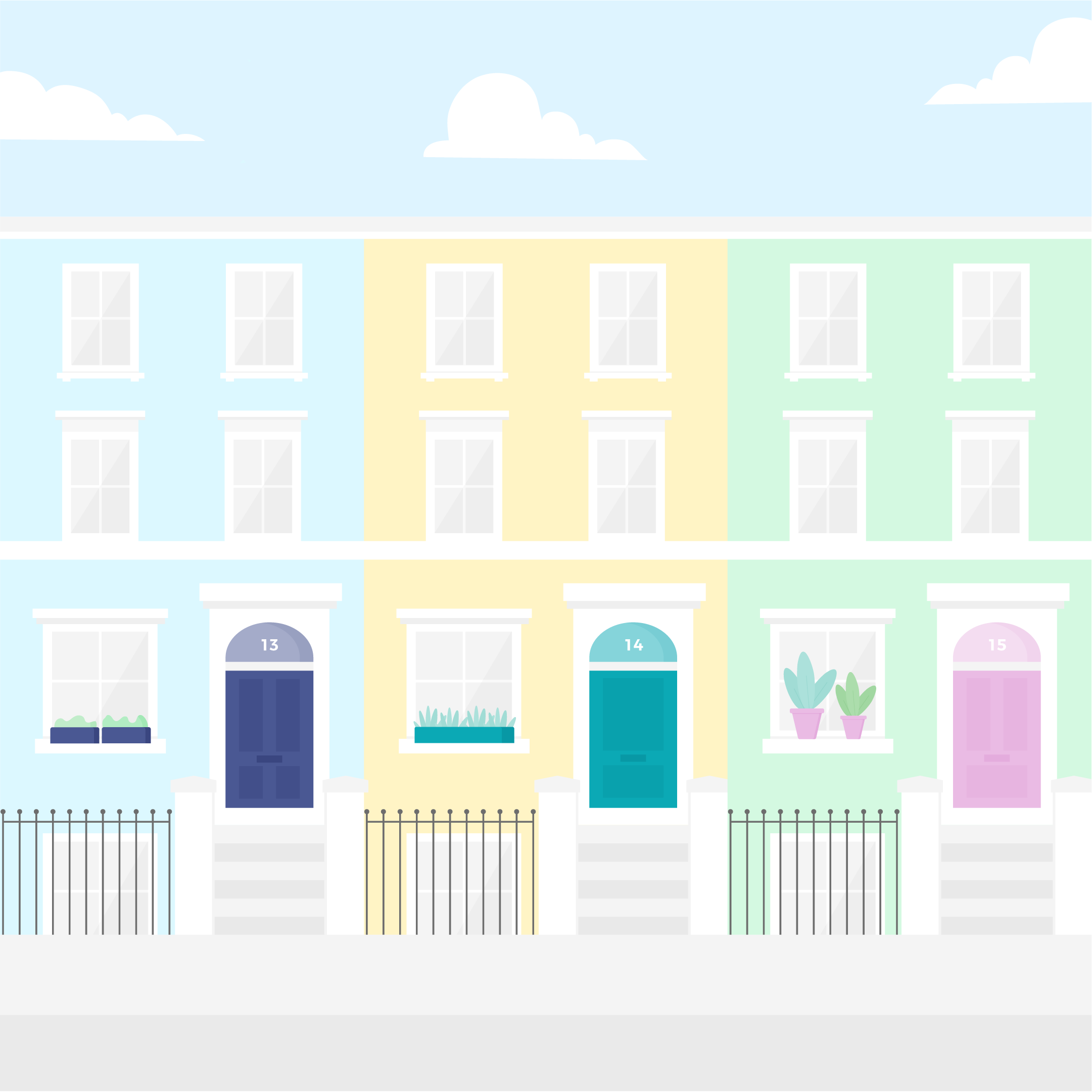 Vector illustration of terrace houses from Elgin Crescent, Notting Hill, London UK in flat design style